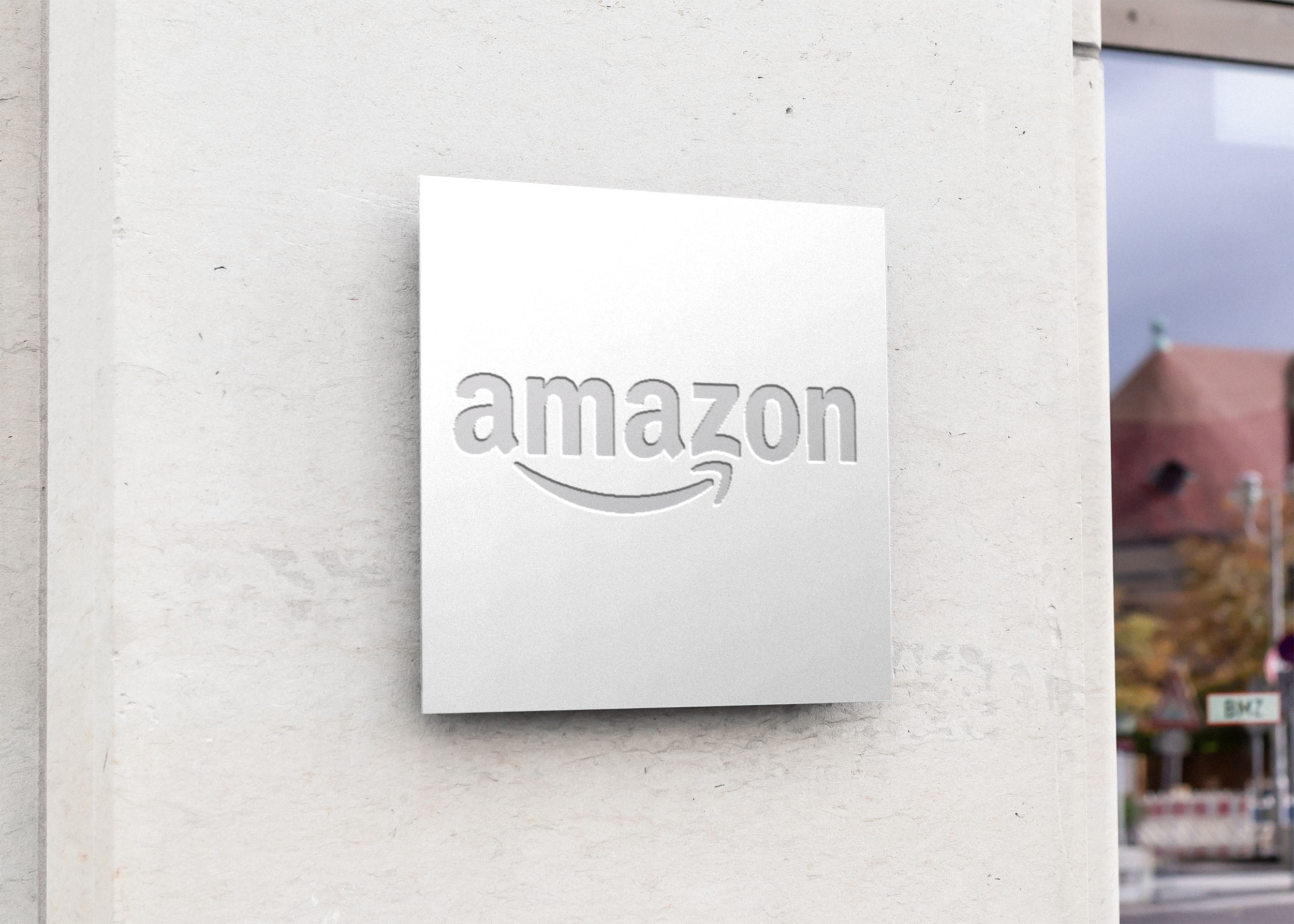 Amazon on Free Square Sign Board Mockup