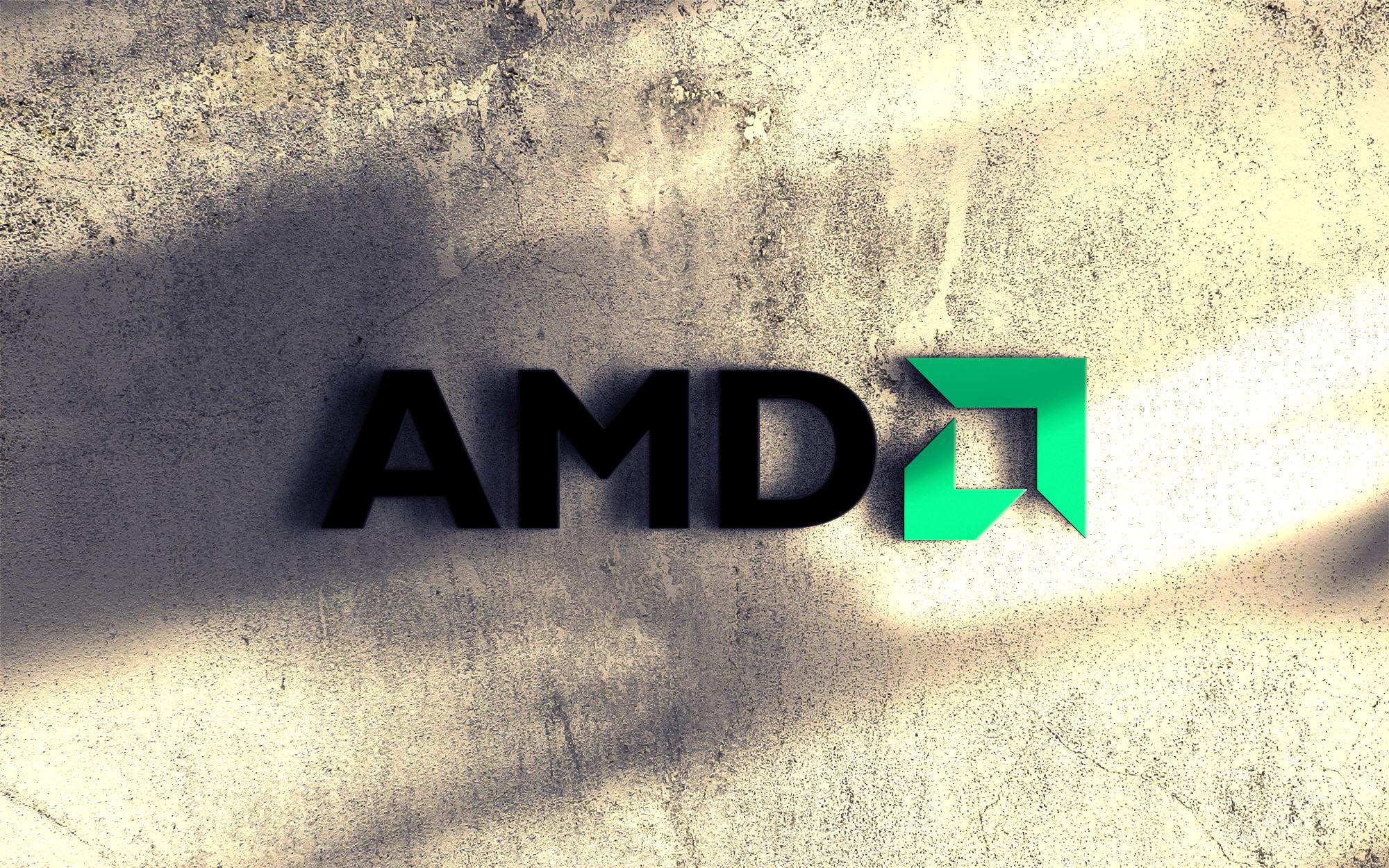 Amd logo presentation on 3d wall mockup