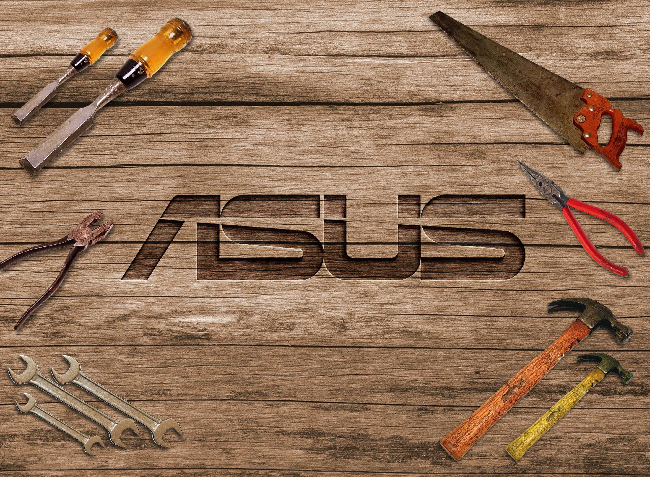 Asus Logo on 3d curved wood mockup