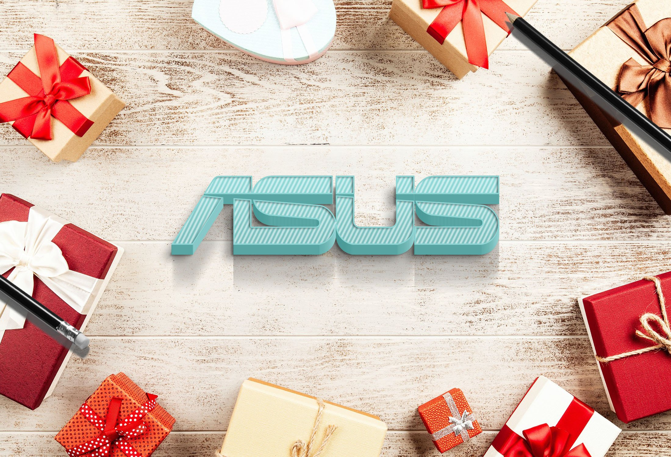 Asus on colorful wood mockup