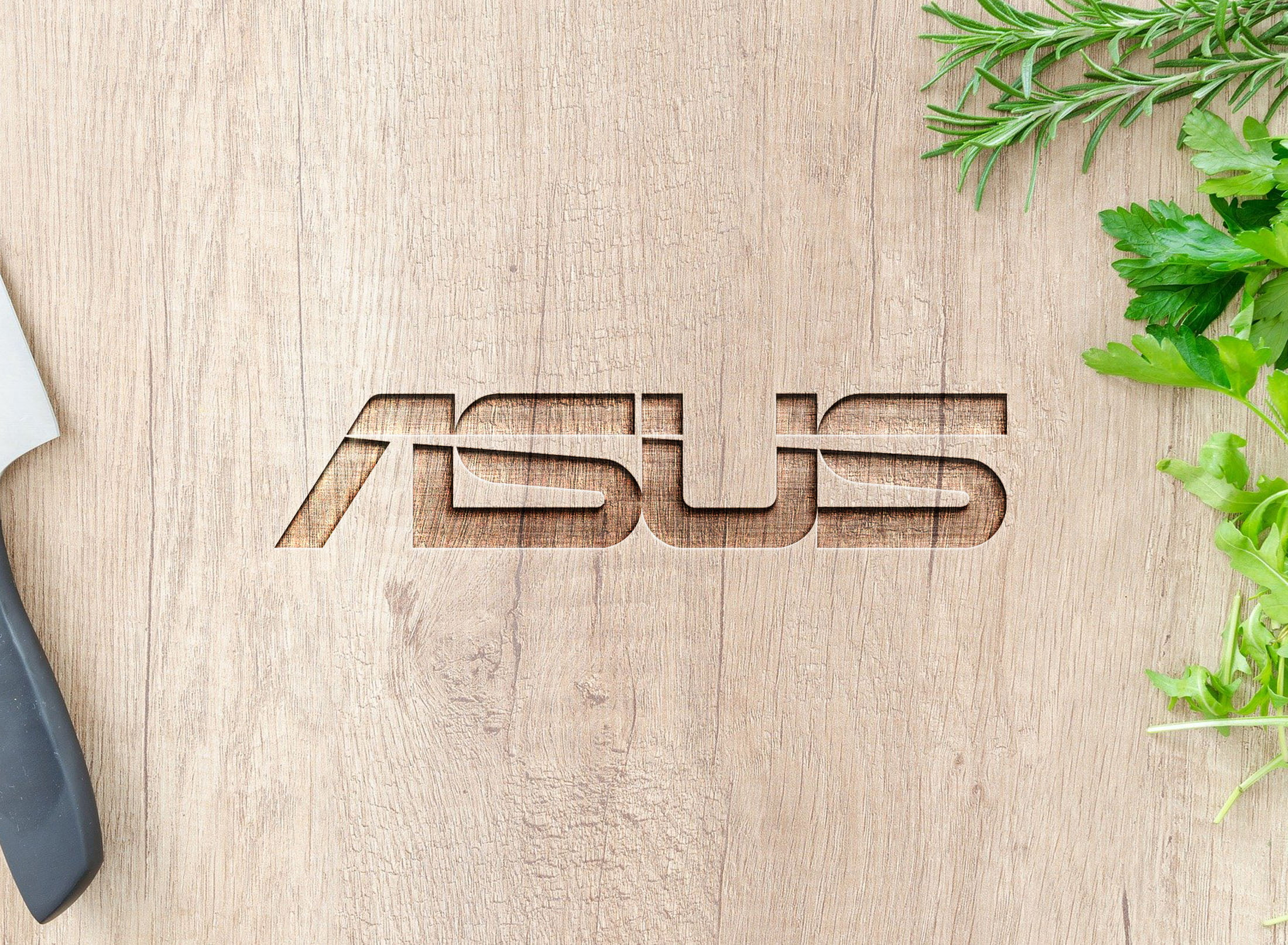 Asus on curved wood mockup