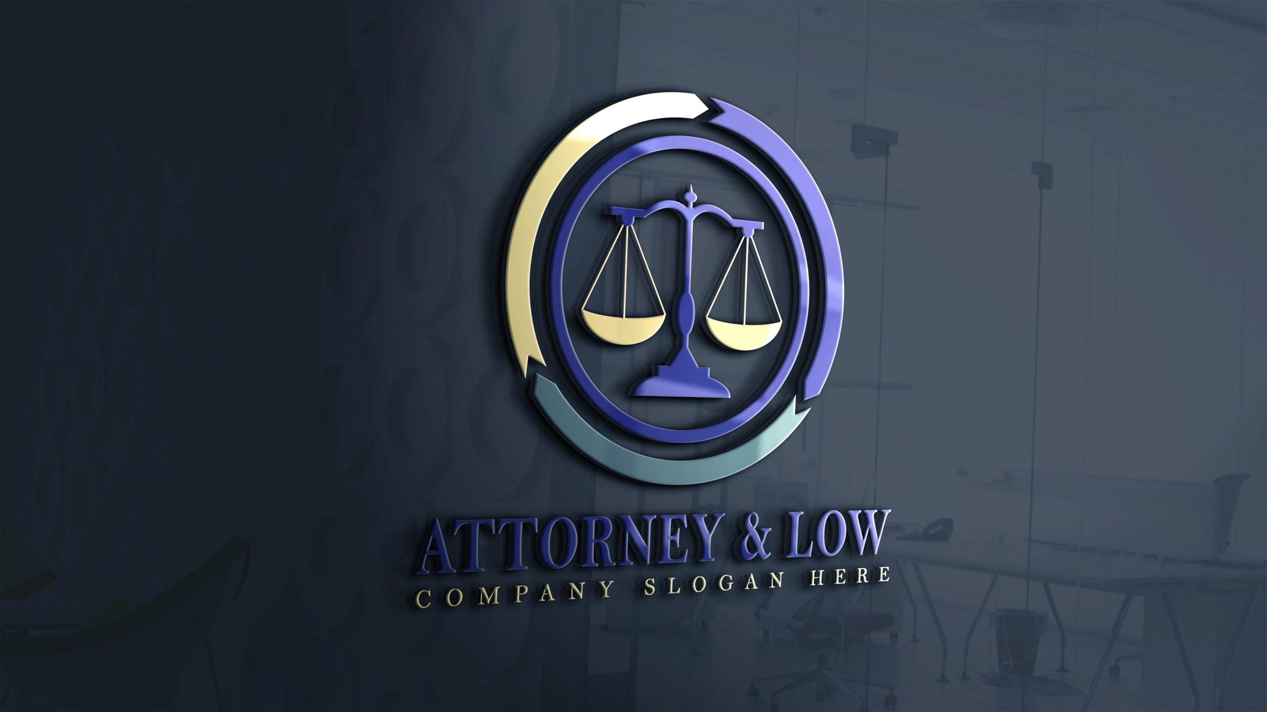 Attorney & Law Logo Design on 3d glass window