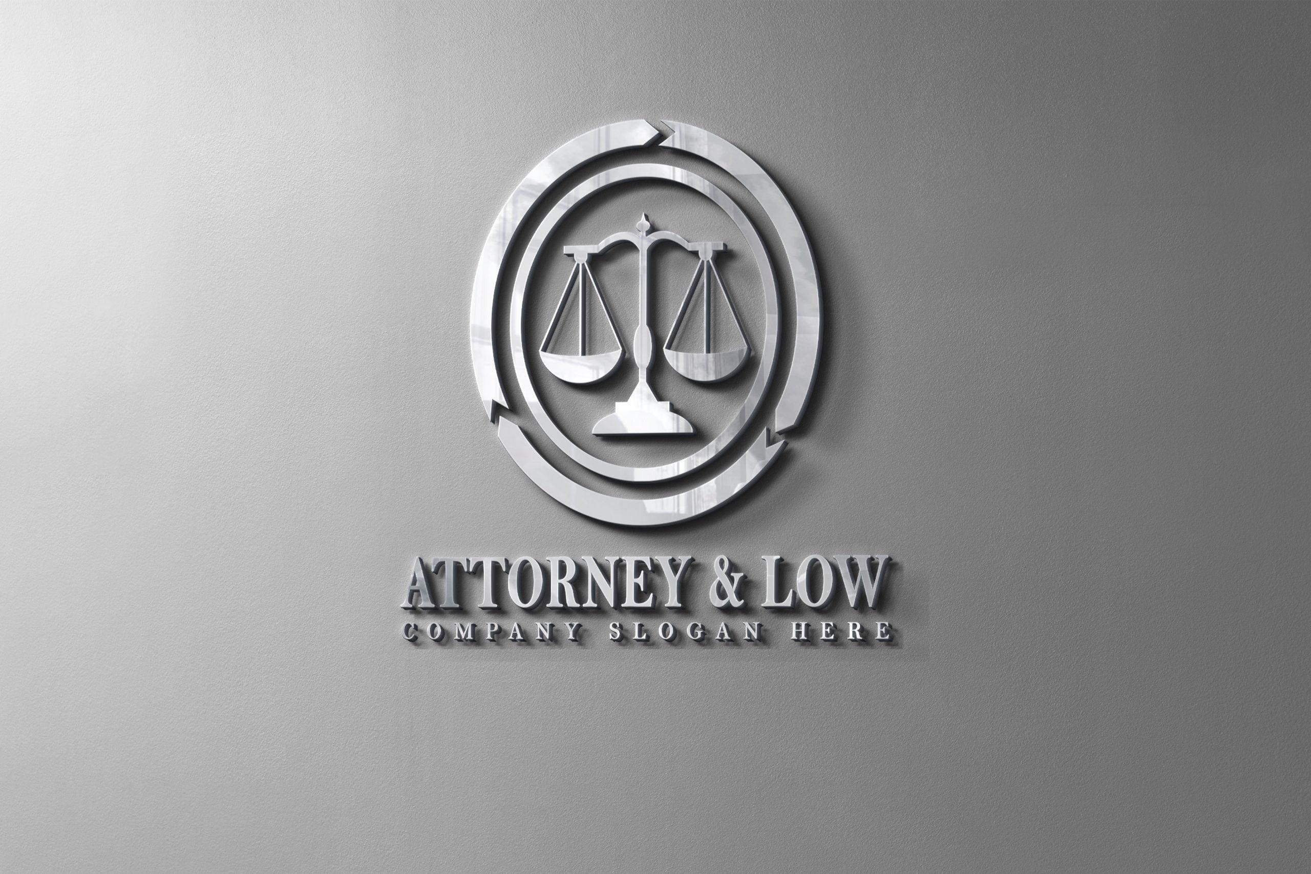 Attorney & Law logo design on metal wall