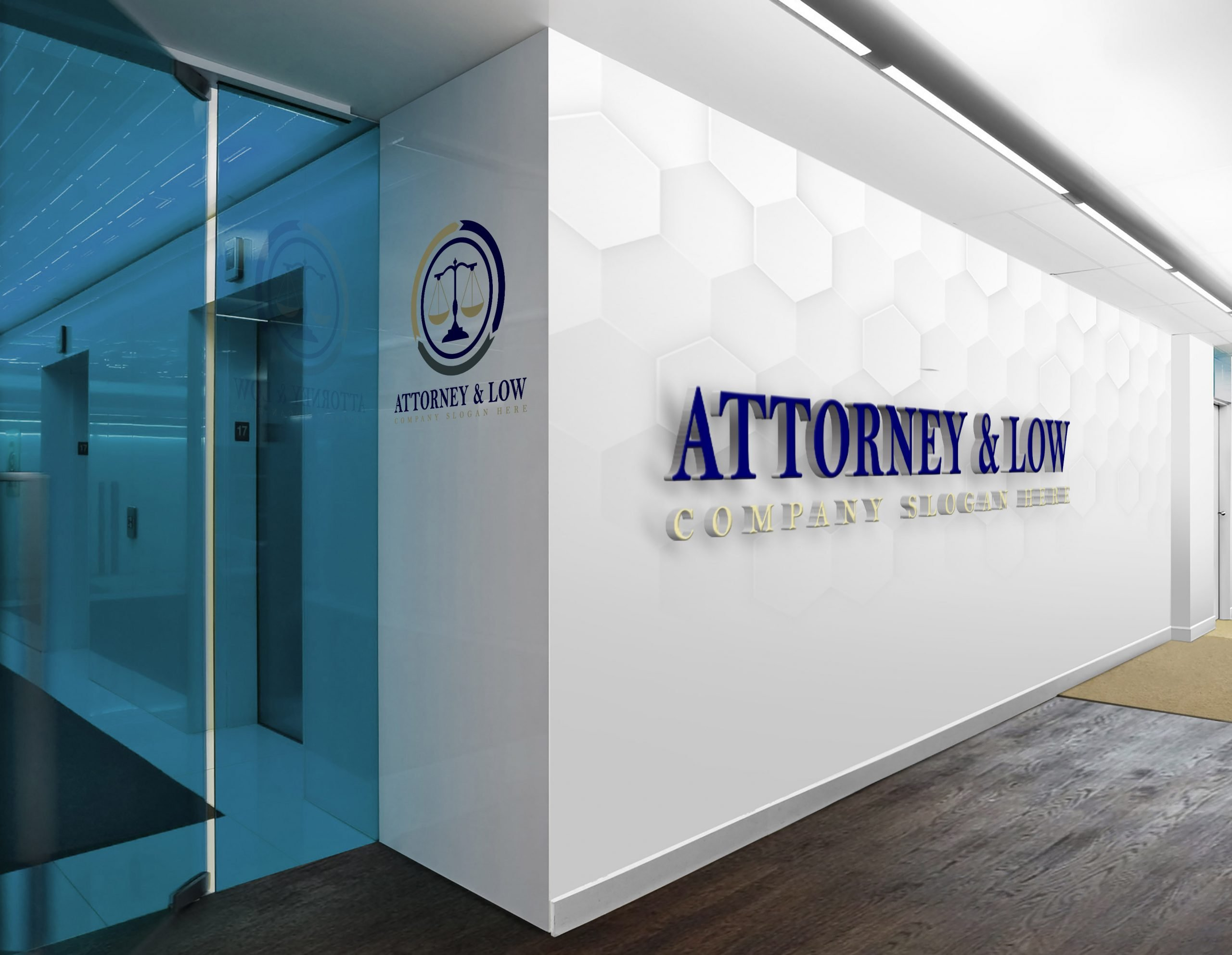 Attorney & Law logo design on office wall