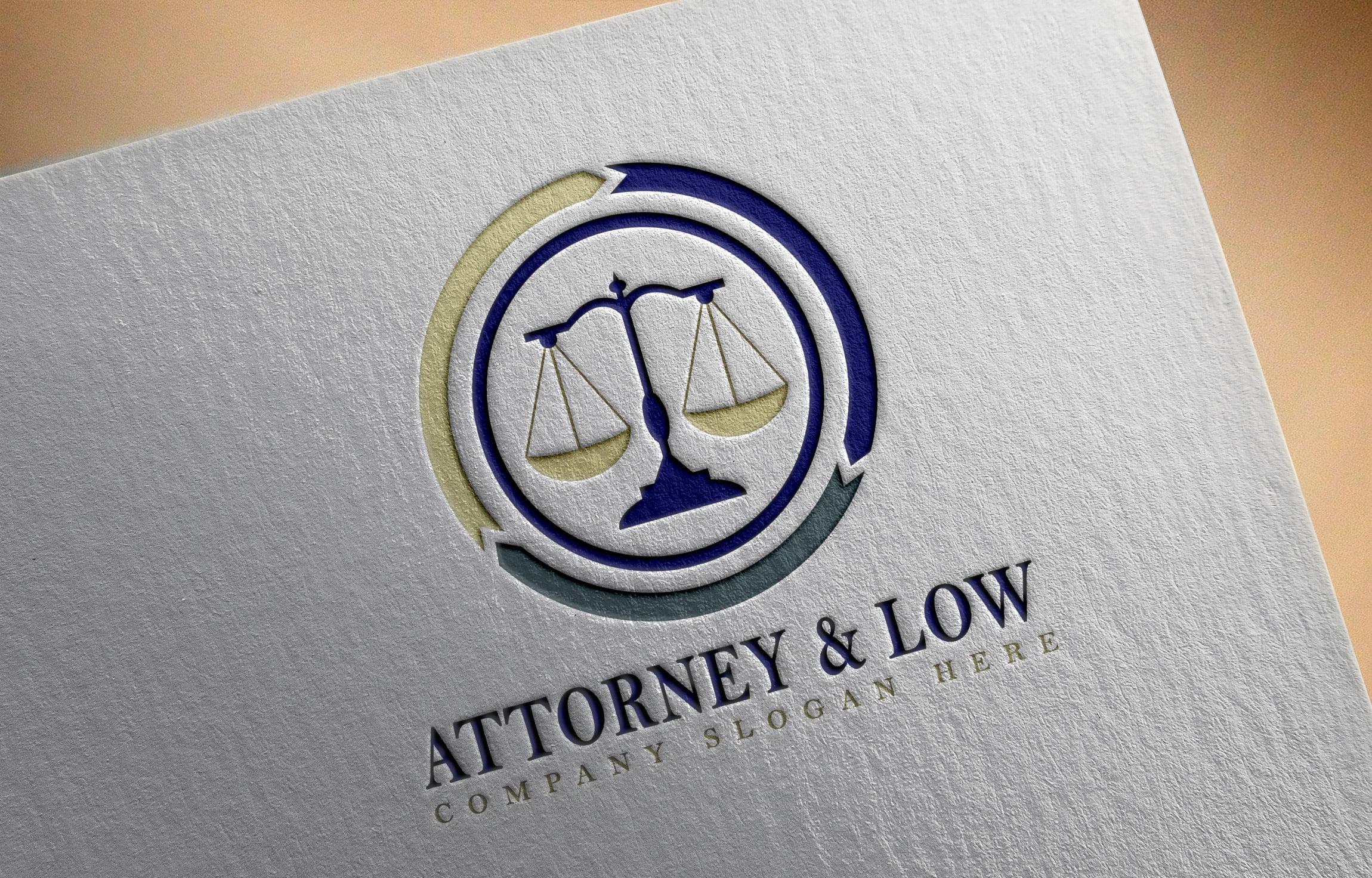 Attorney & Law logo design on paper mockup