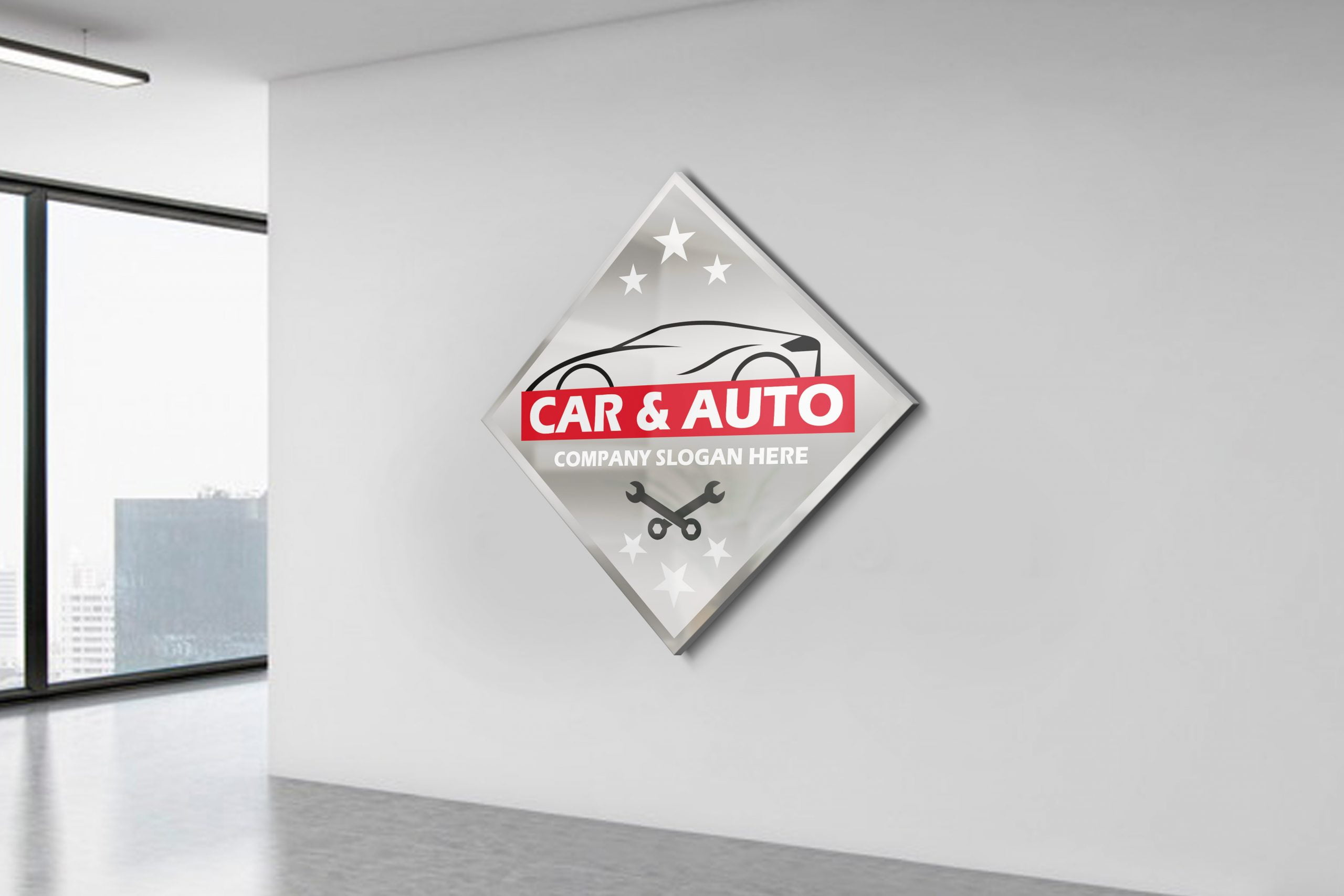 Auto repair Car Logo design On White Wall