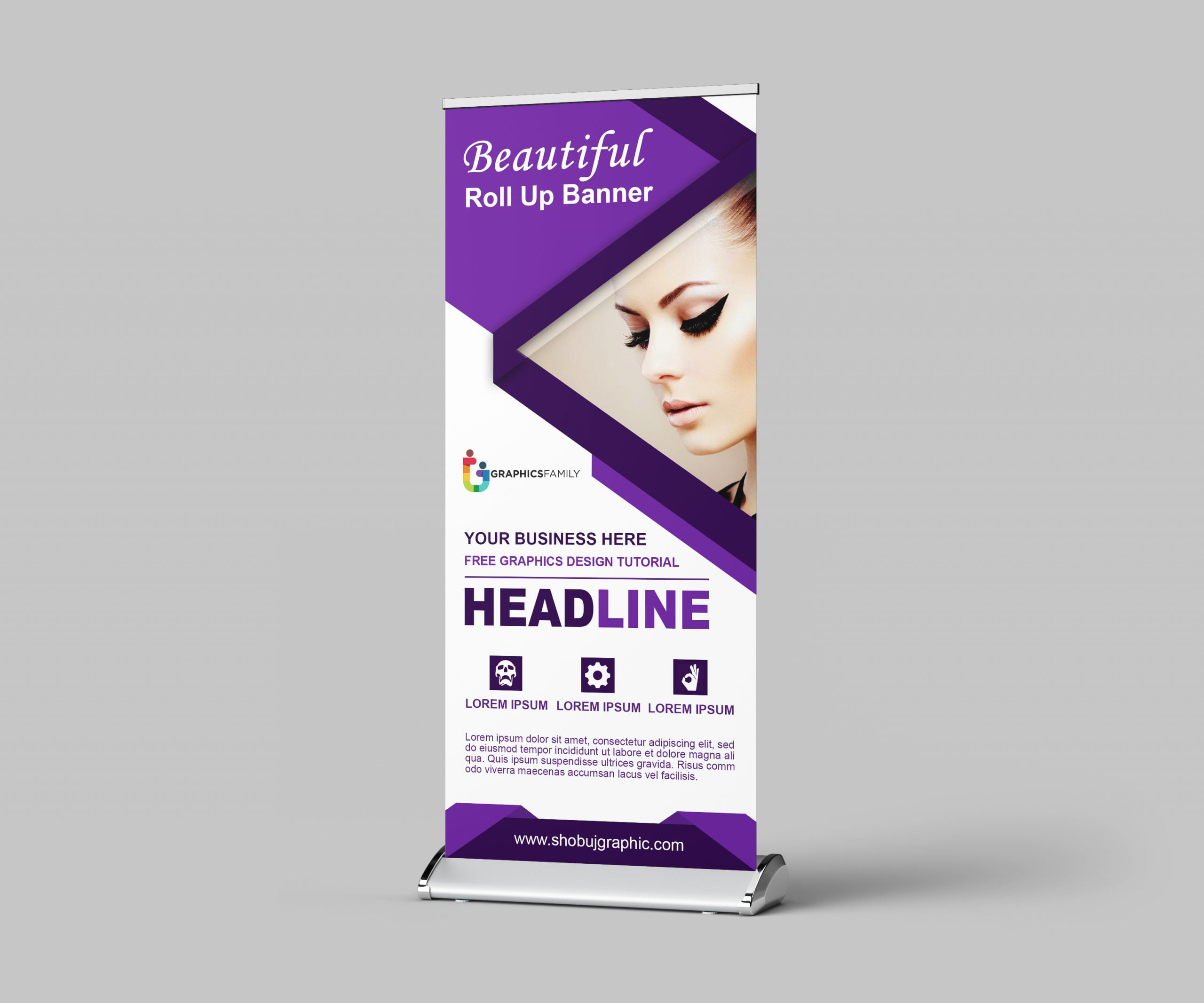 Free Photoshop Beauty Salon Roll Up Banner Design Template