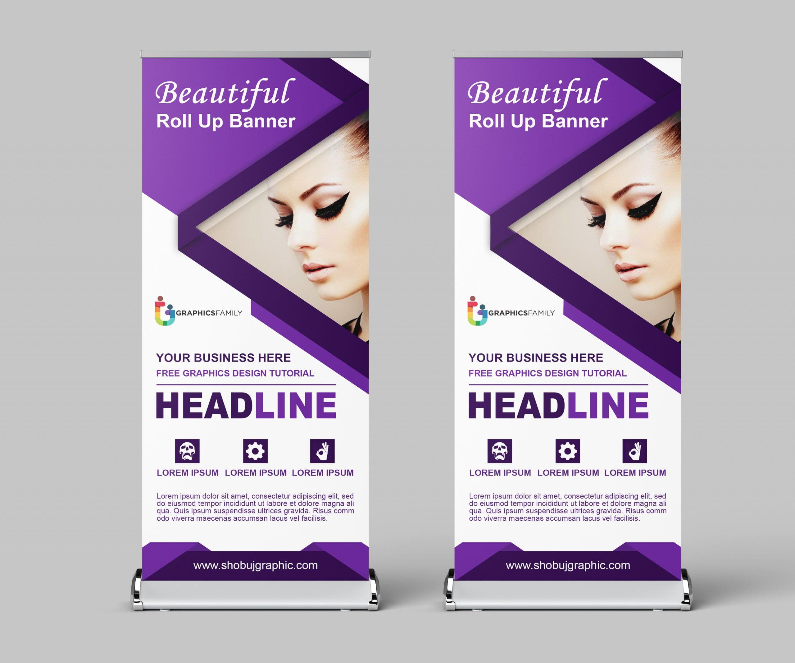 Beauty salon roll up banner design