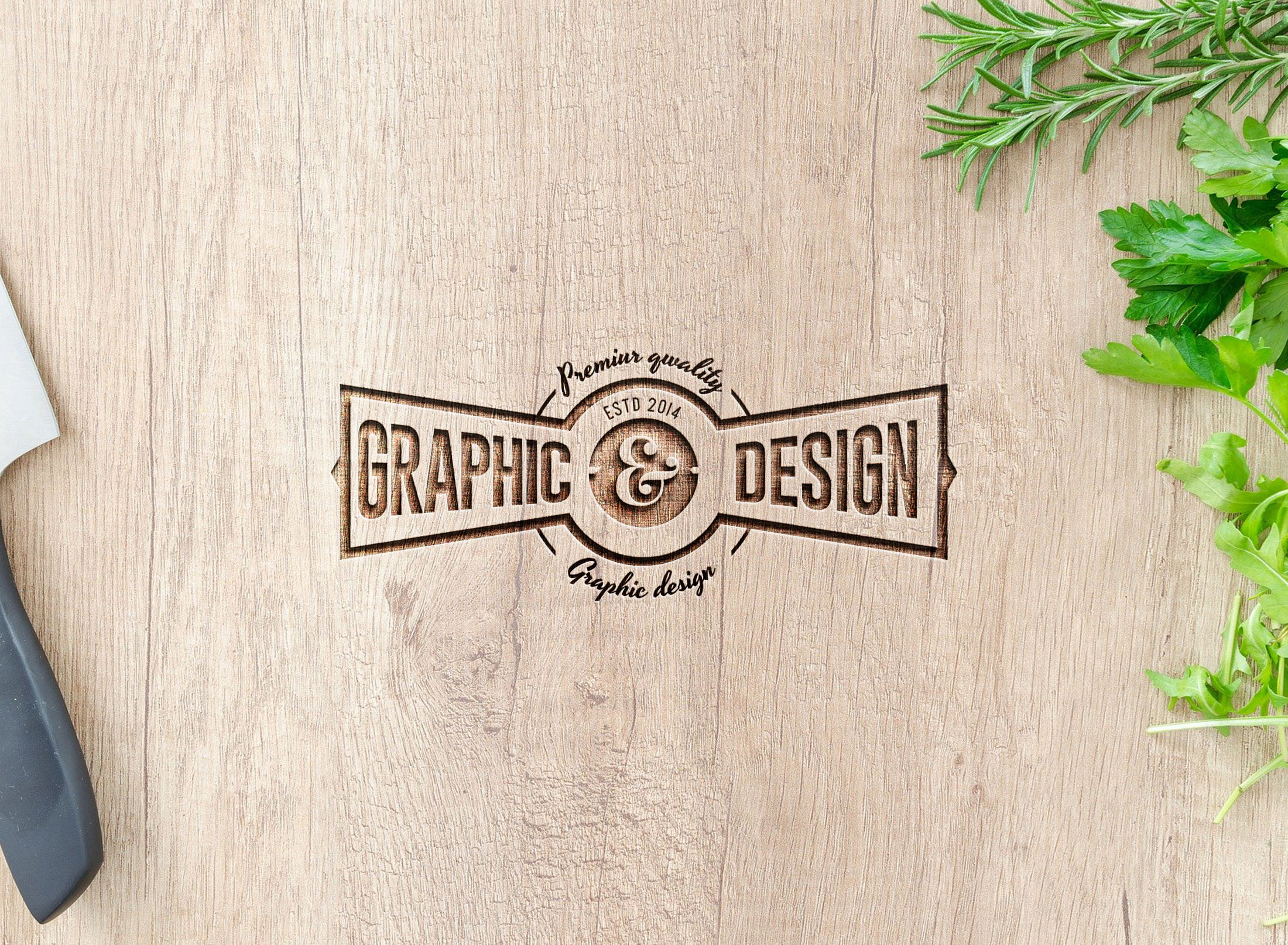 Best curved wood mockup