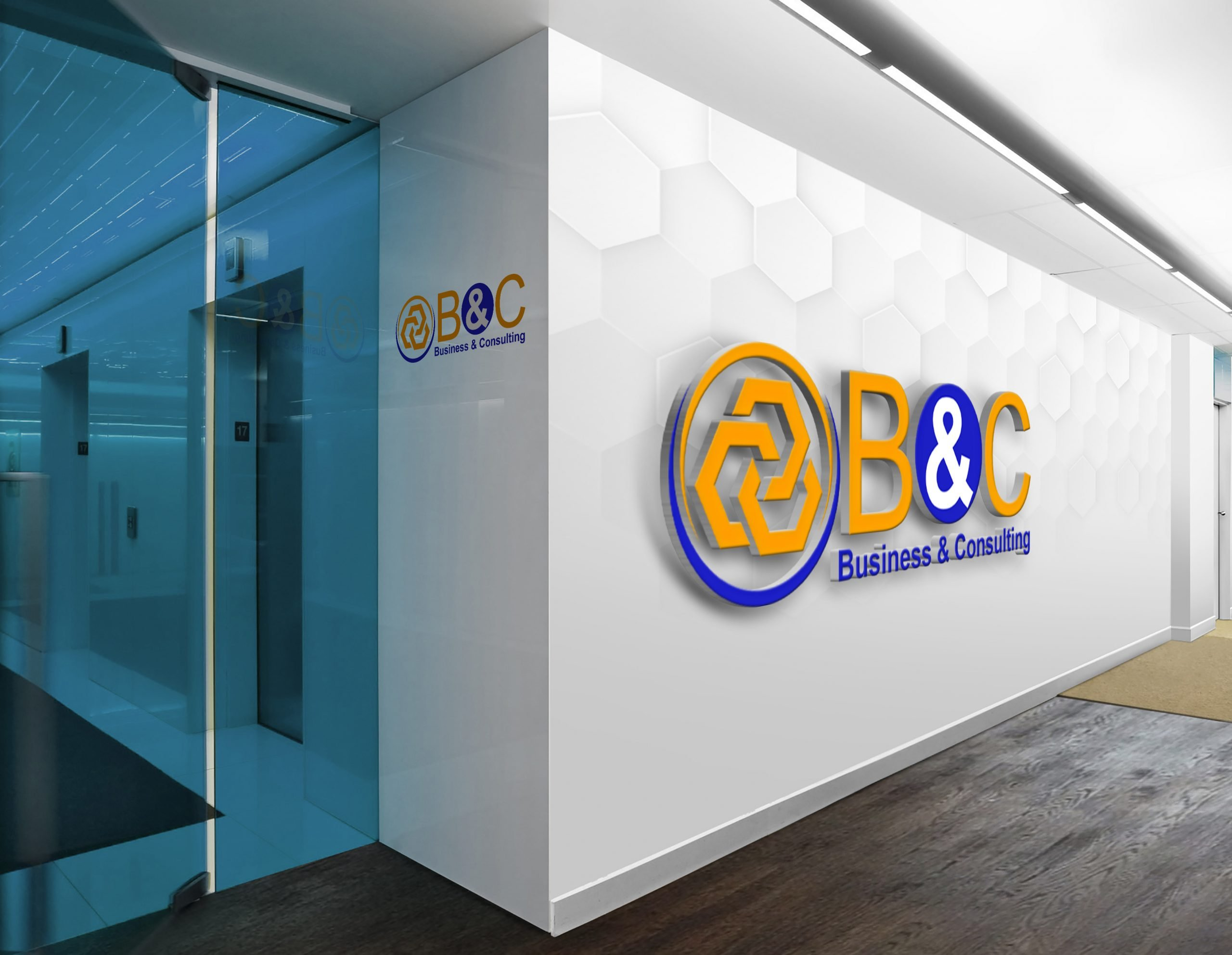 Business consulting logo Design on office wall