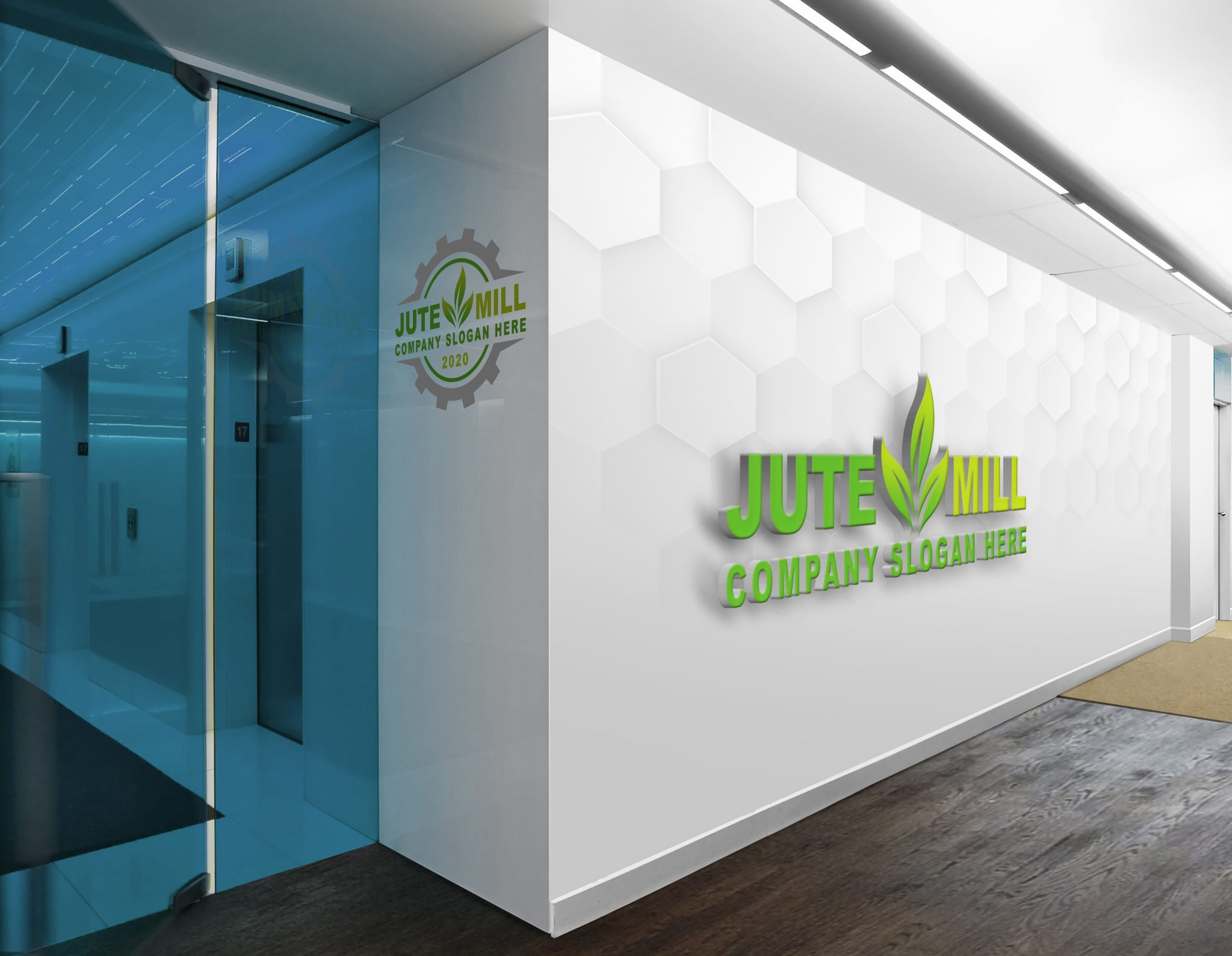 Company Logo Design on office wall Free psd