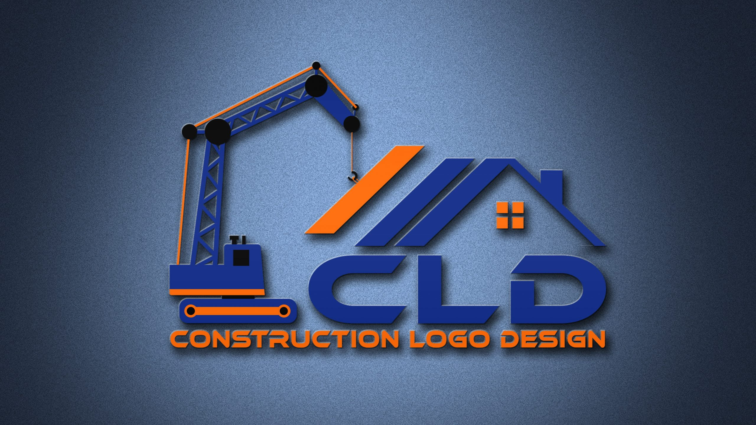 Construction Logo Design on 3d wall