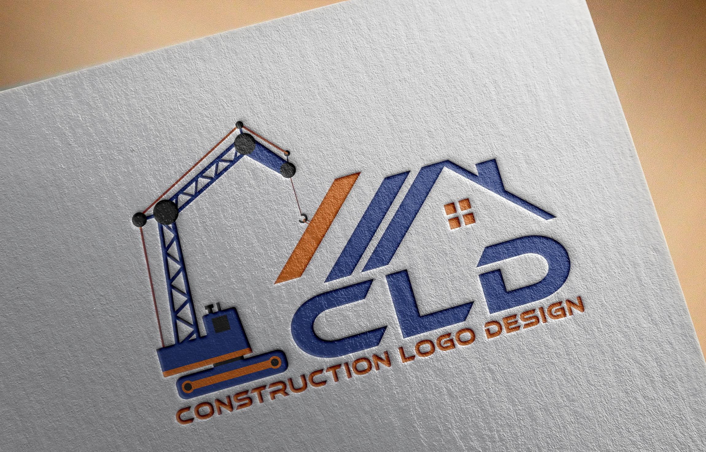 Construction Logo Design on paper mockup