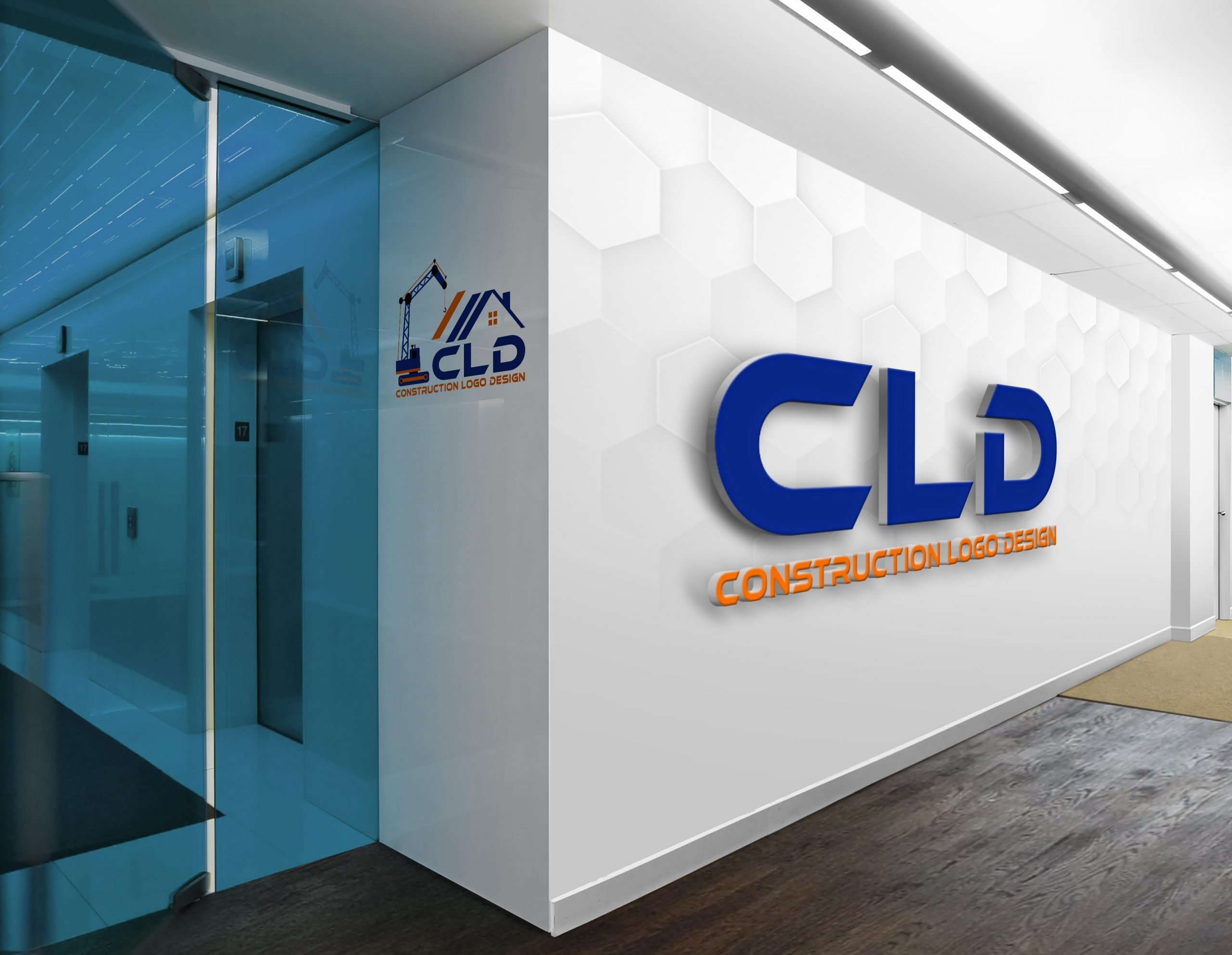 Construction Logo Design showcase on wall