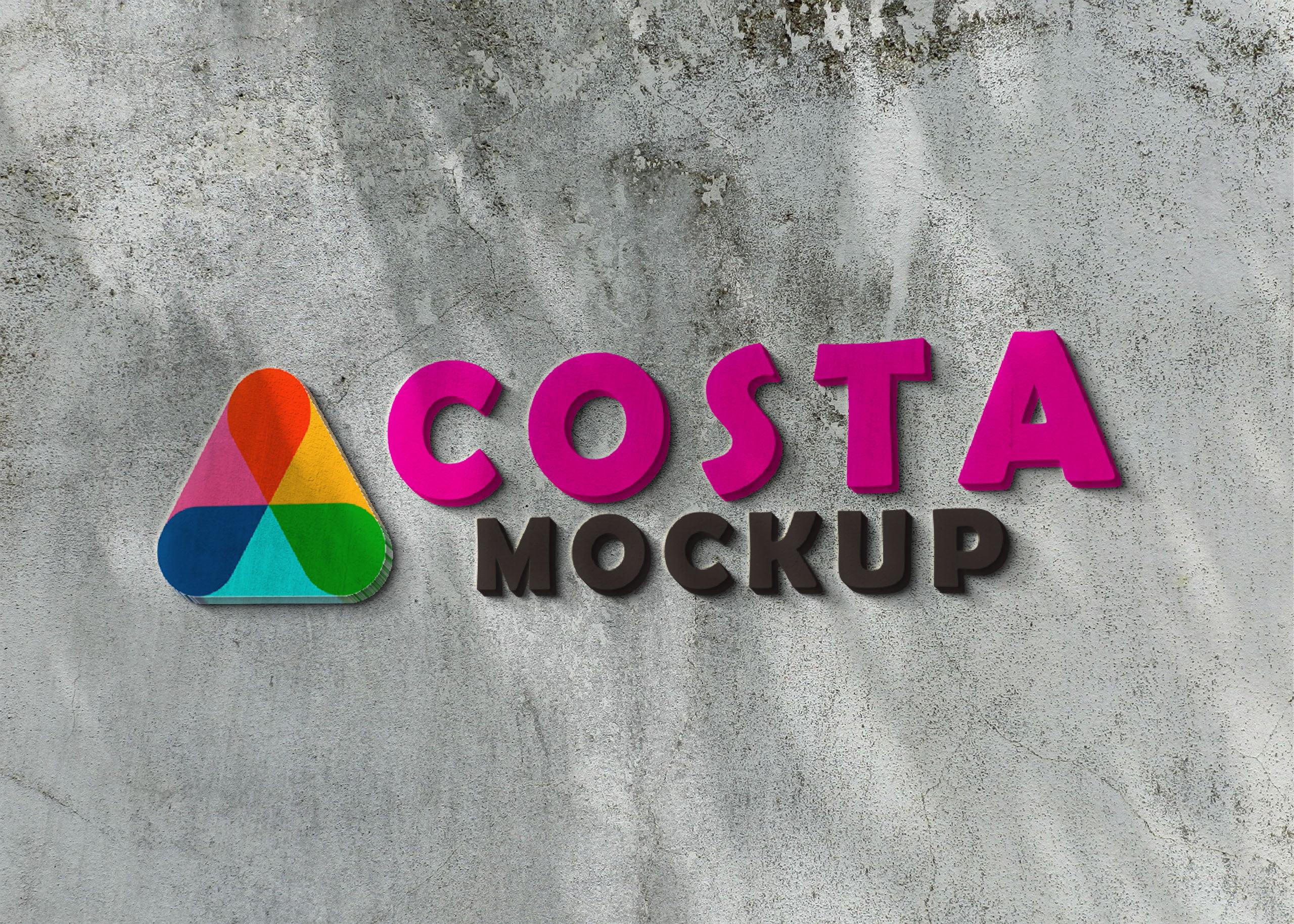 Costa logo on 3d wall