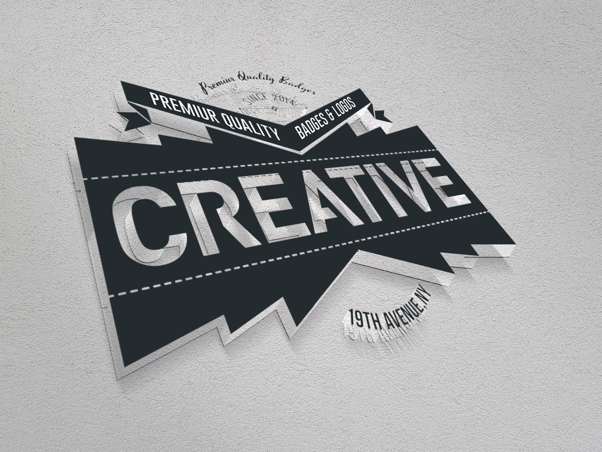 Creative Logo on 3d realistic wall mockup