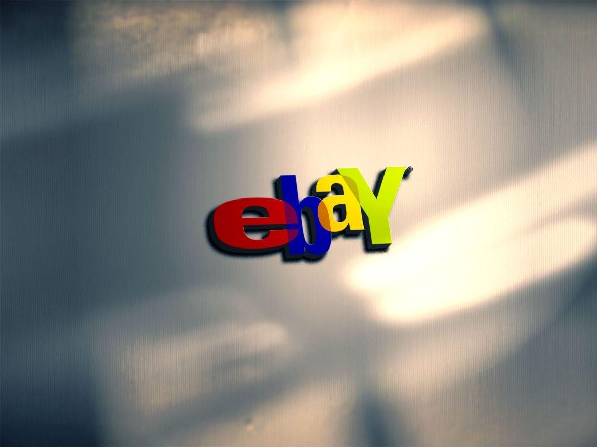 eBAY Free Photorealistic 3D Metal Logo PSD Mockup