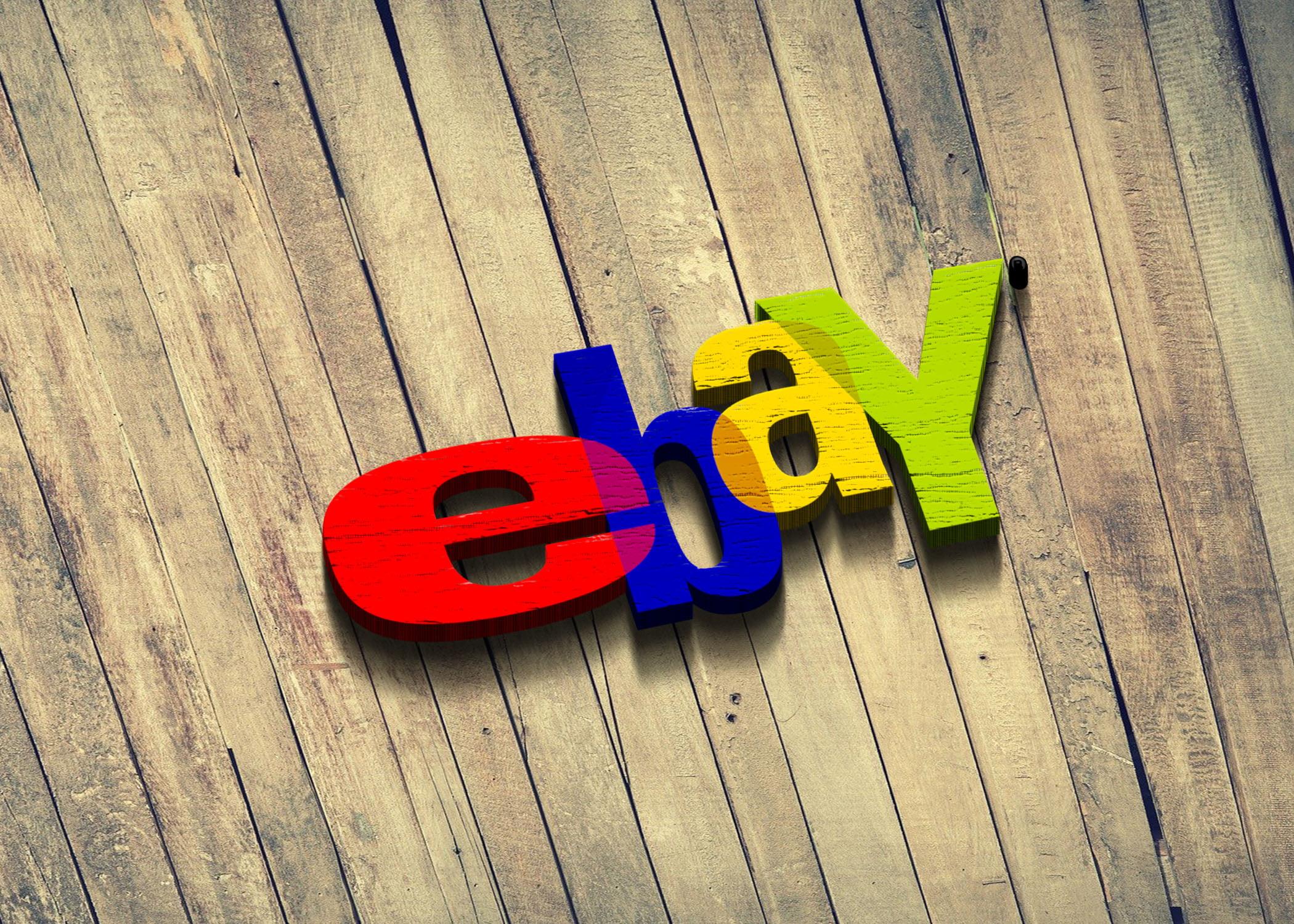 Ebay logo on 3d wood