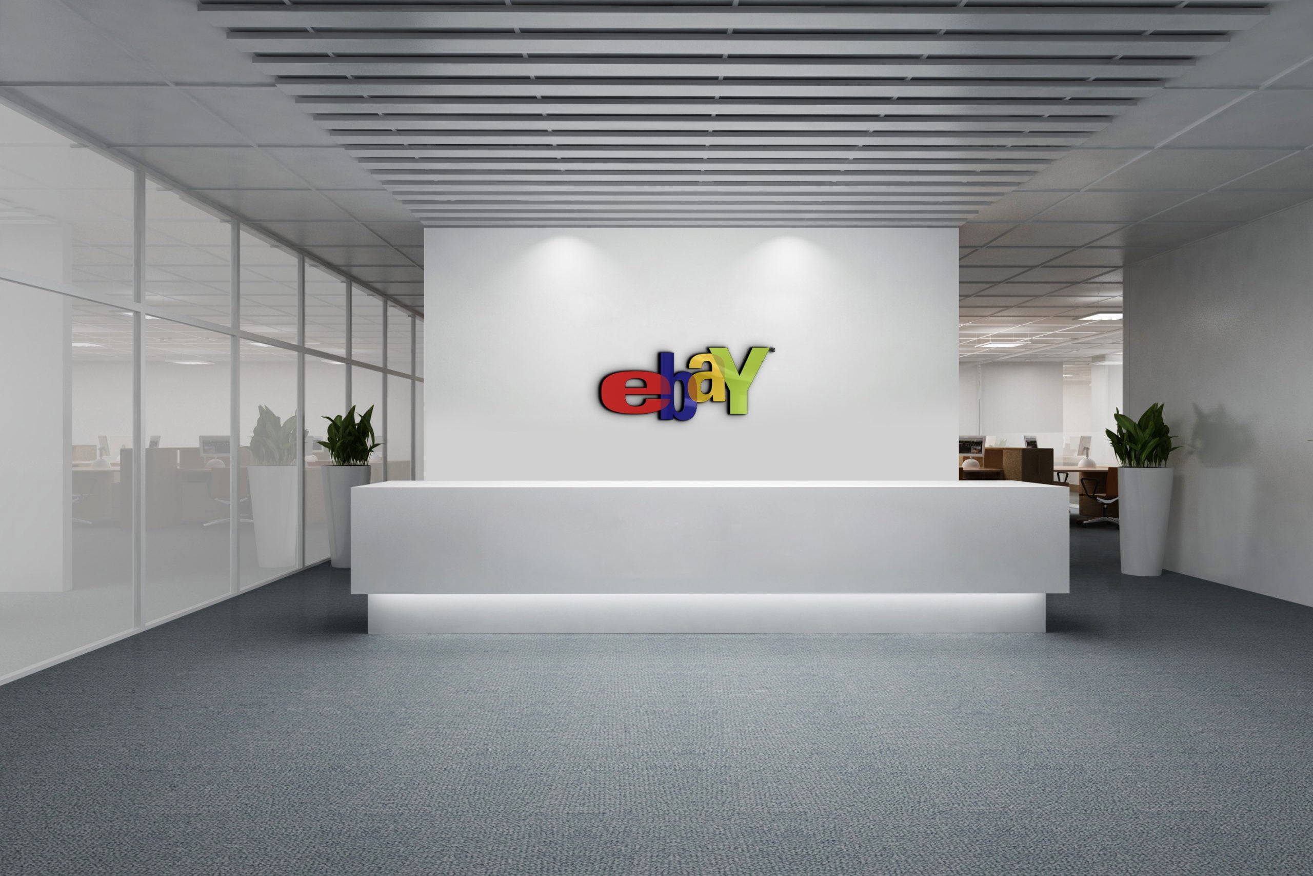 Ebay logo on white wall