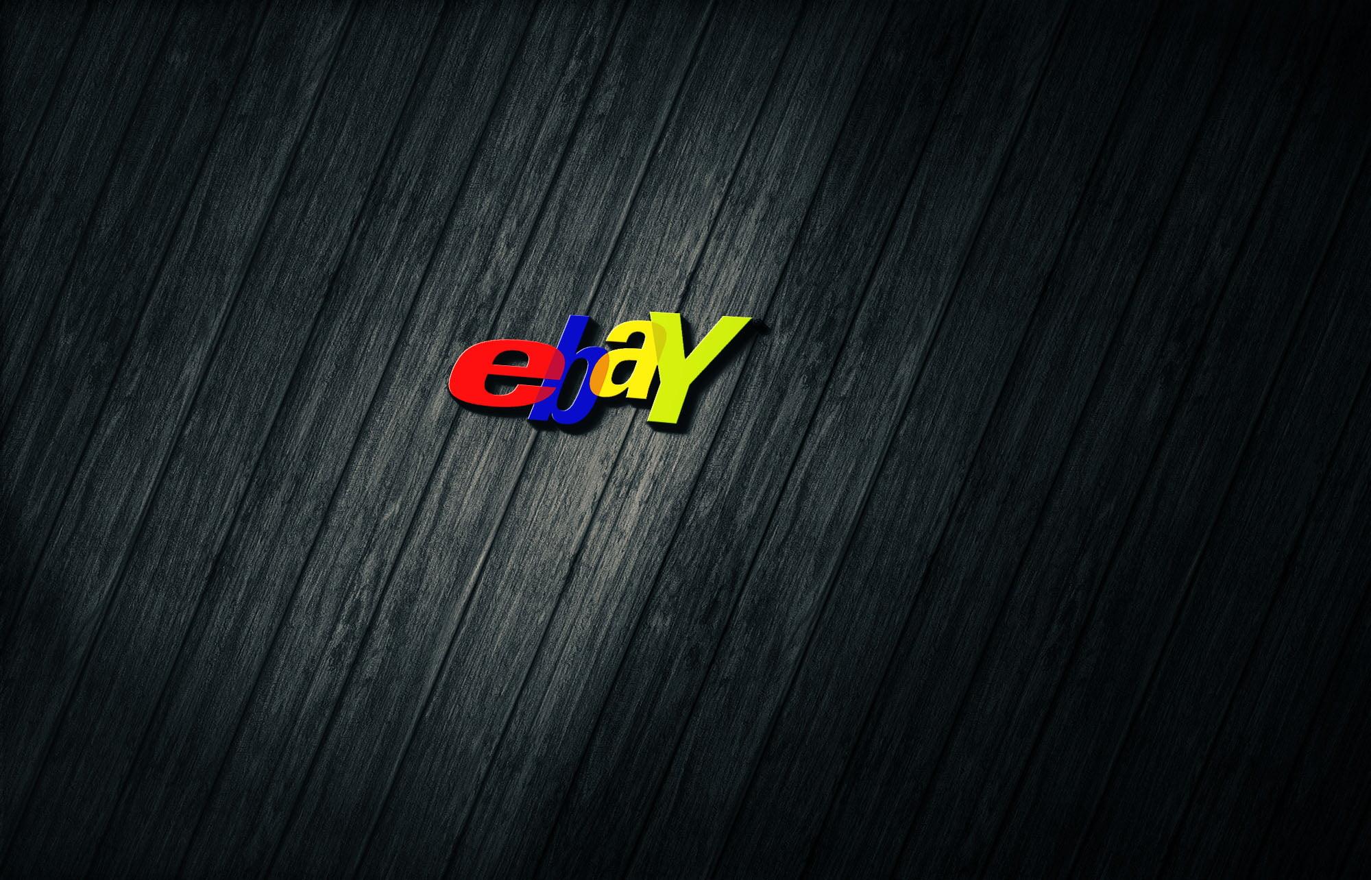 Ebay on 3d dark wood mockup