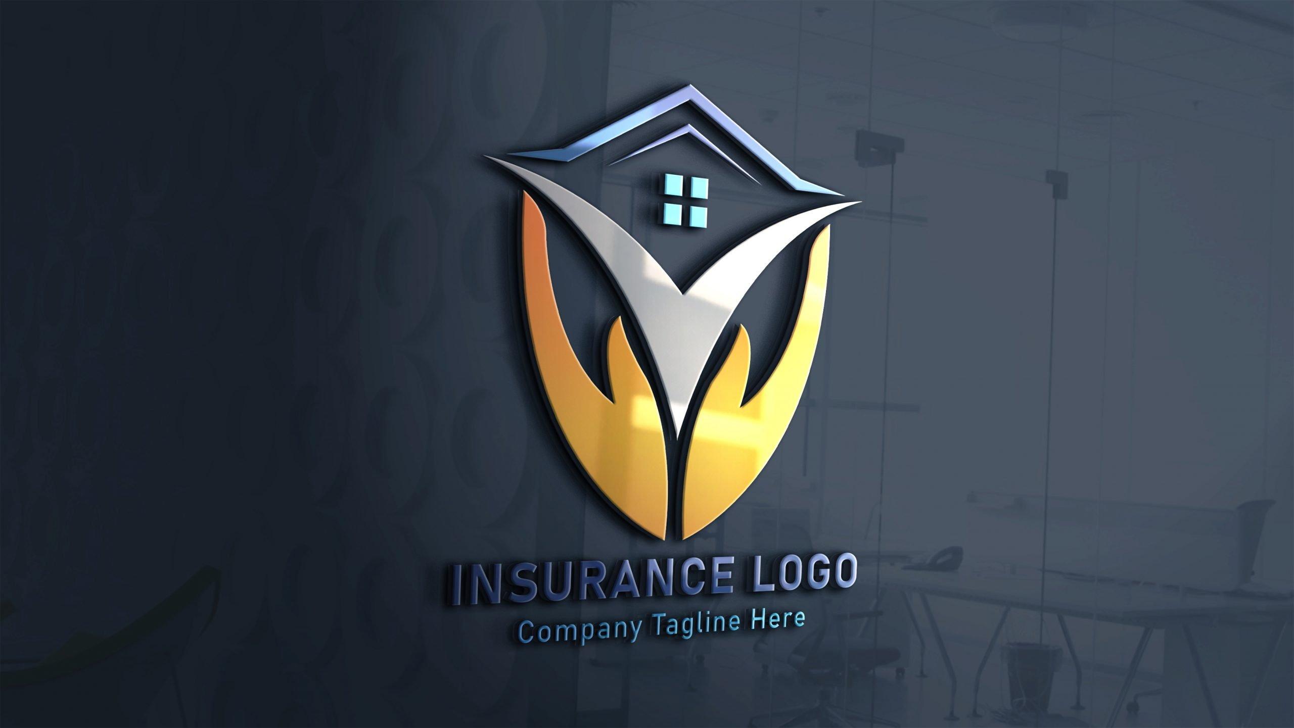 Finance & Insurance Logo Design on 3d glass window