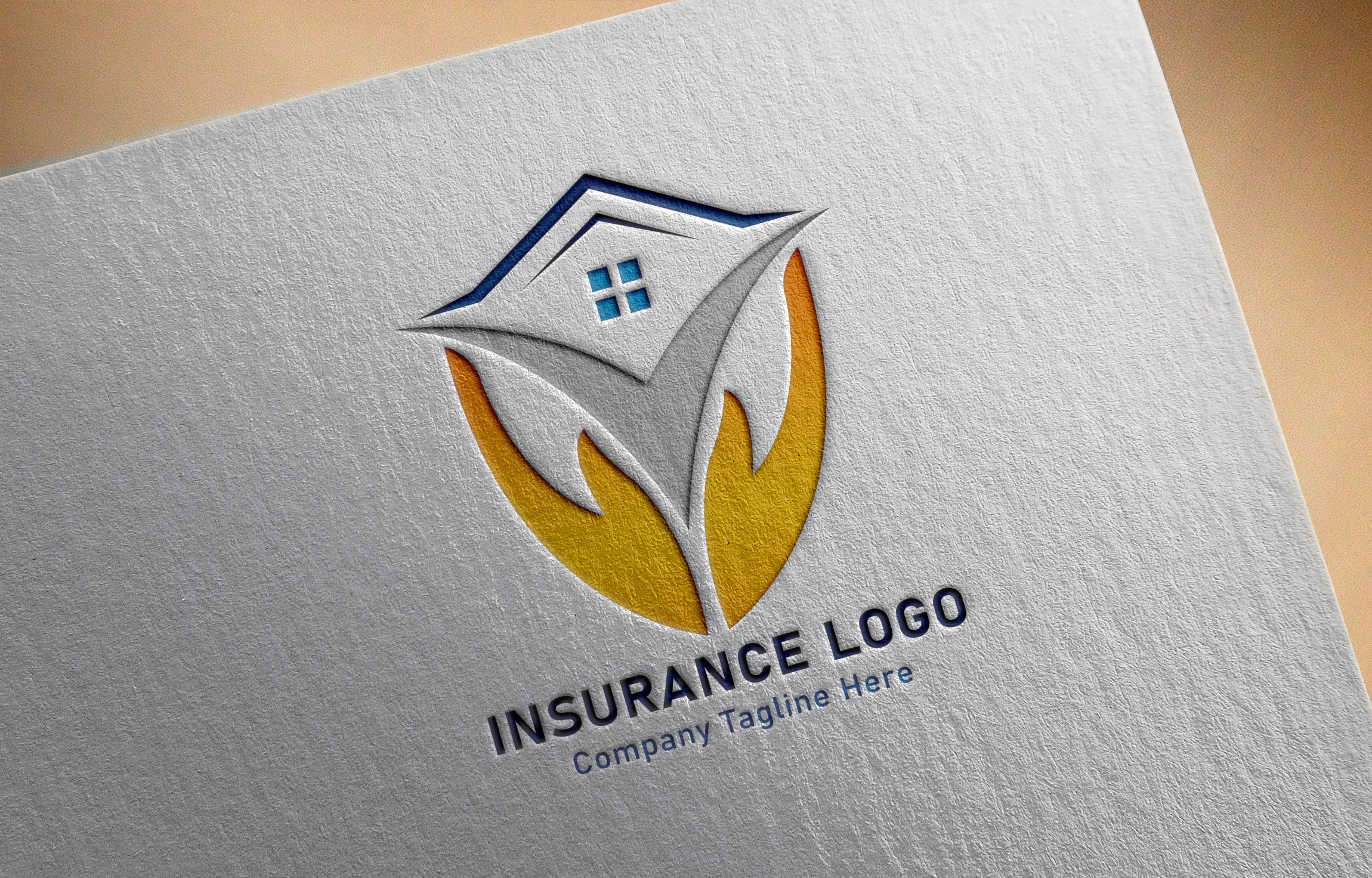 Finance & Insurance Logo with paper mockup
