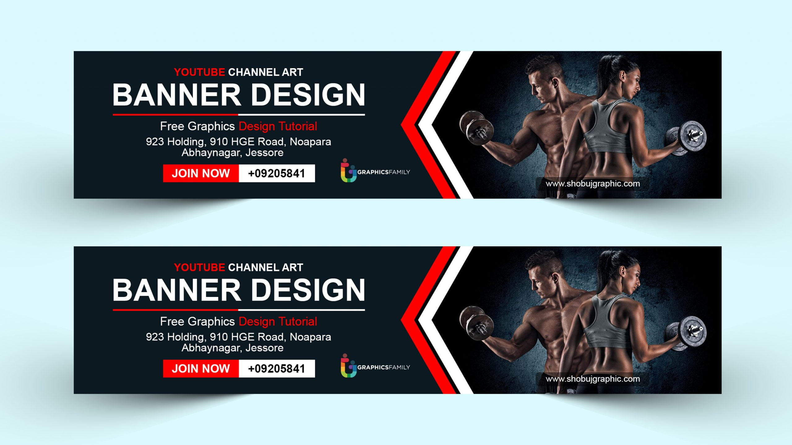 Fitness YouTube Channel Art Design