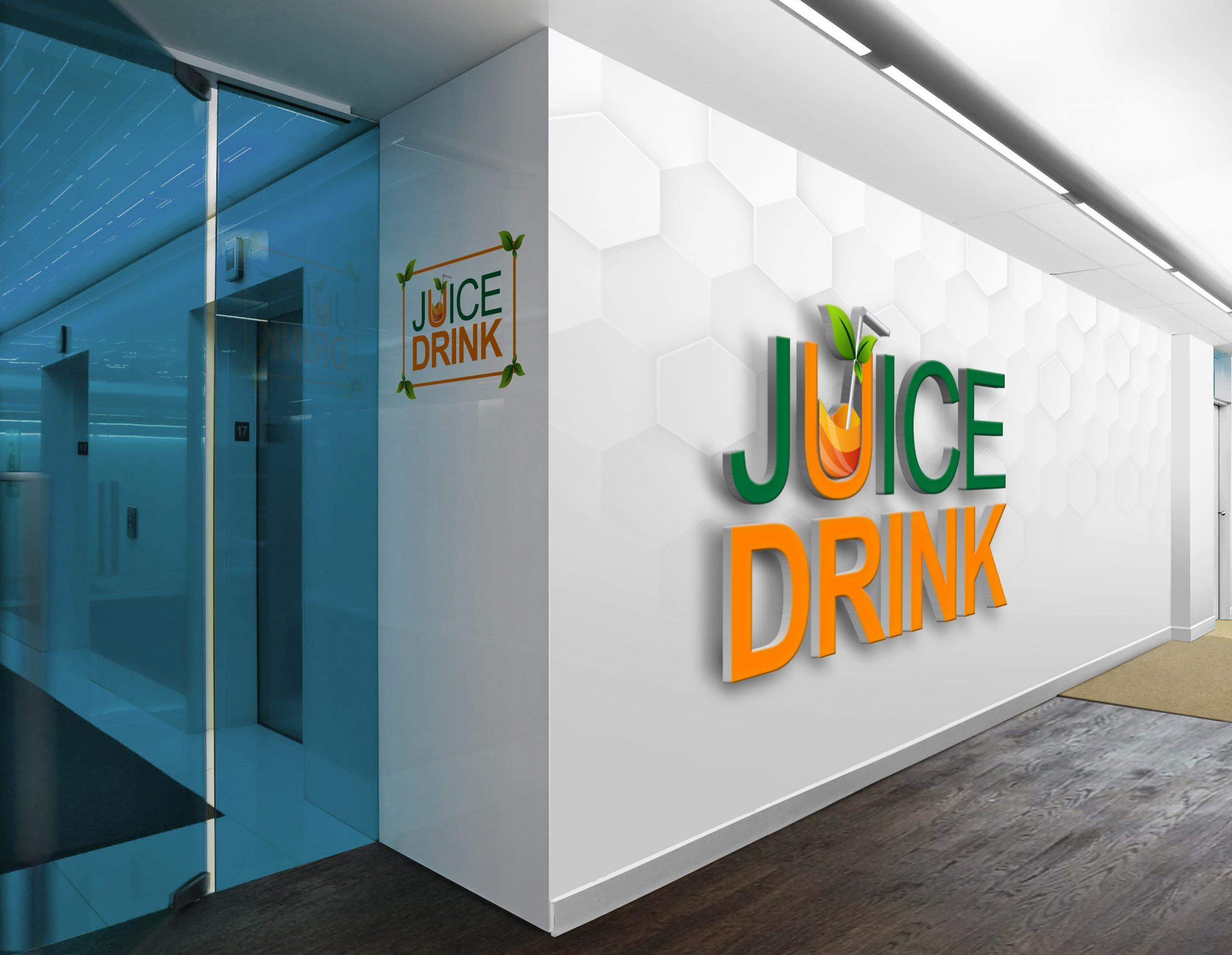 Free Psd Juice Drink Logo Design on office wall