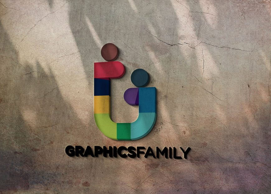 Graphics-family-logo-on-3d-crack-wall
