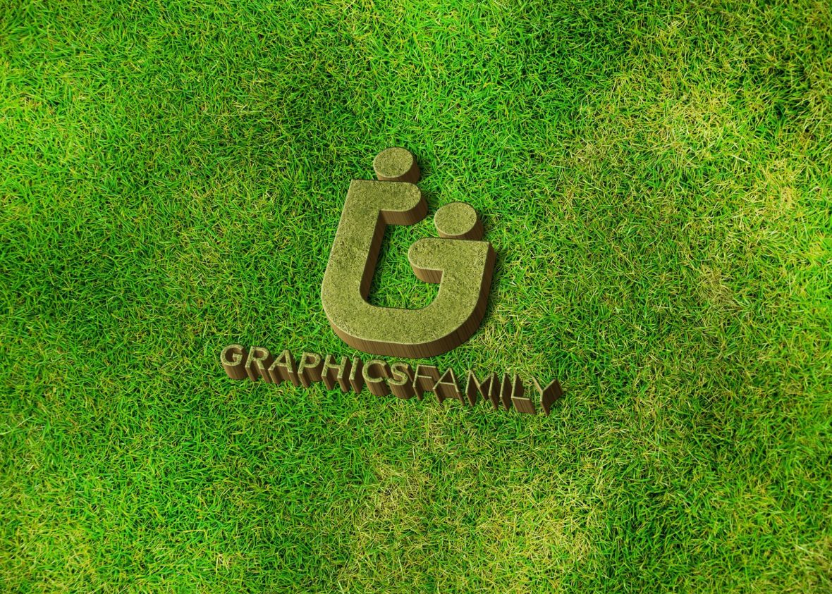 Graphics-family-logo-on-3d-grass-mockup