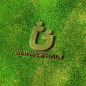 Free 3D Logo on the Grass Mockup