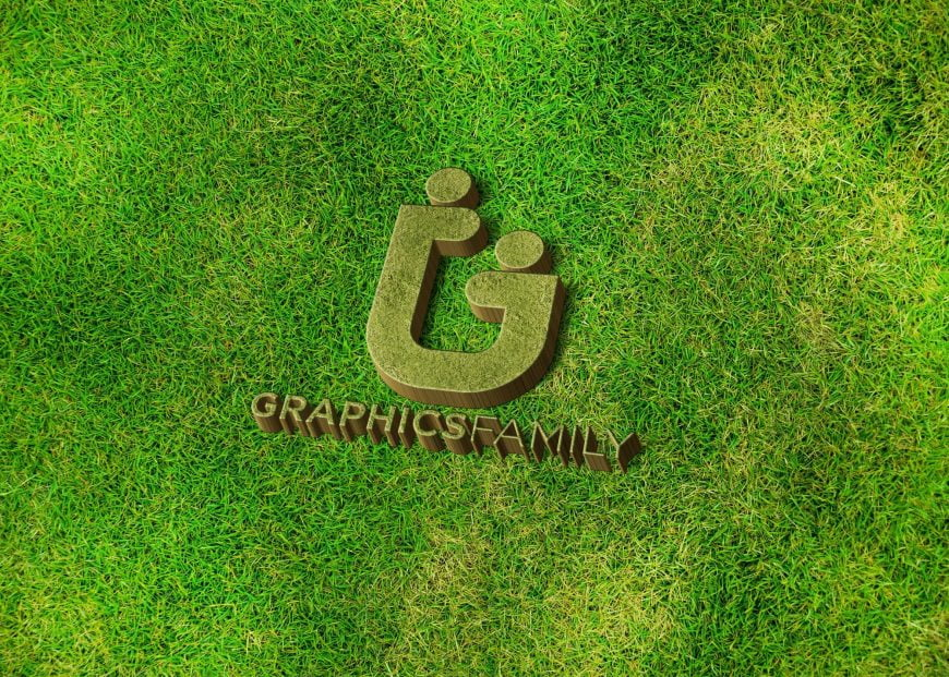 Graphics-family-logo-on-3d-grass-mockup