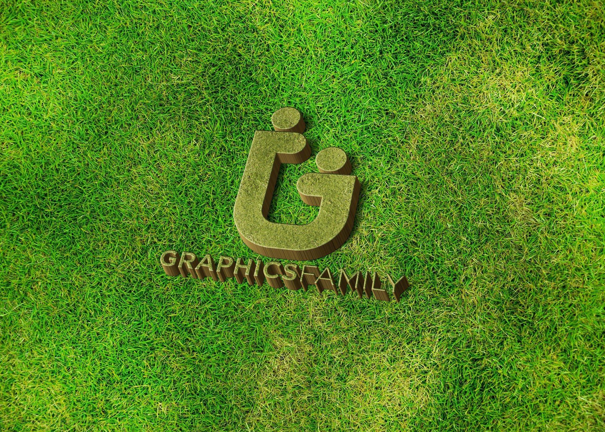 Graphics family logo on 3d grass mockup