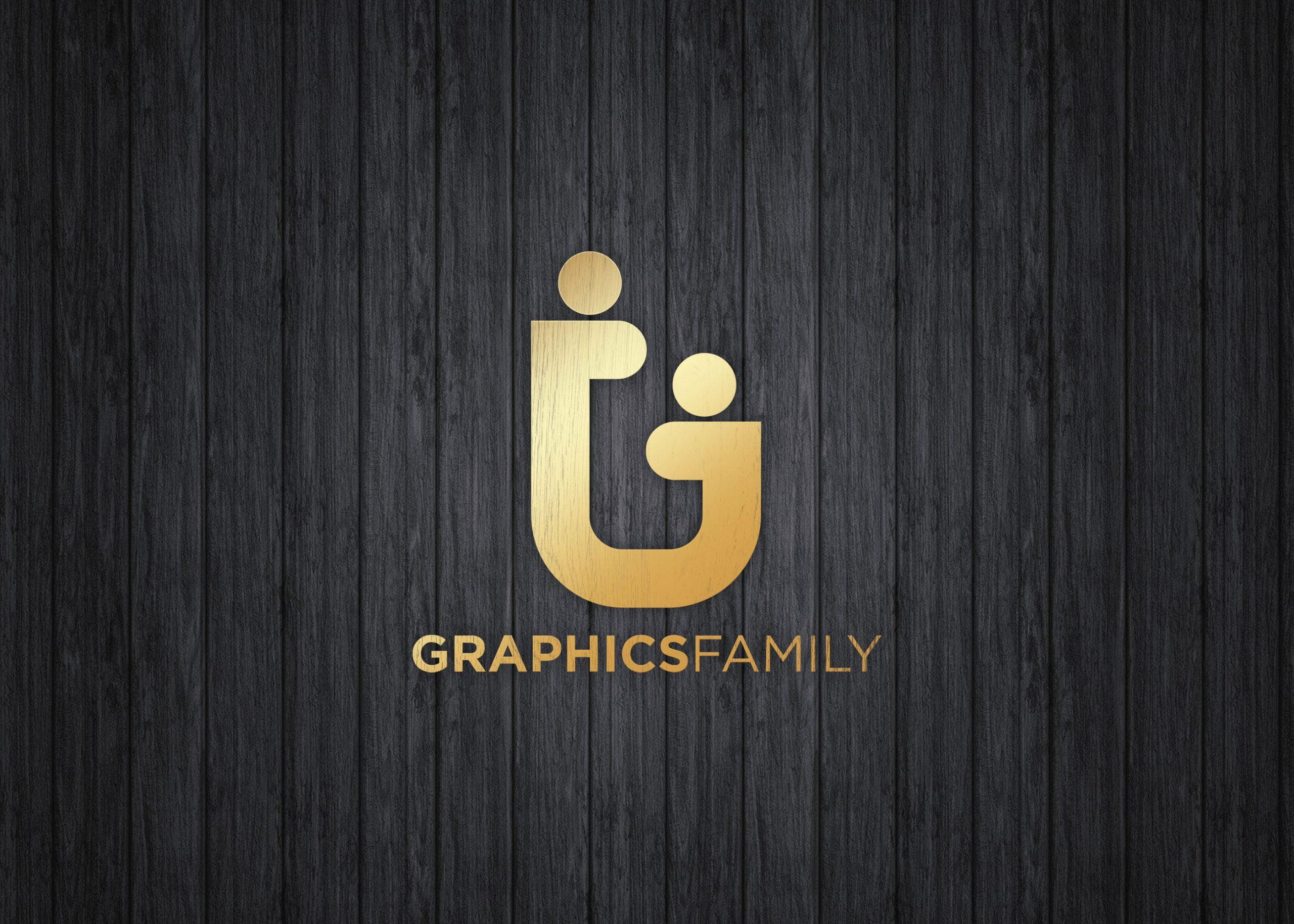 Graphics family on luxury gold mockup