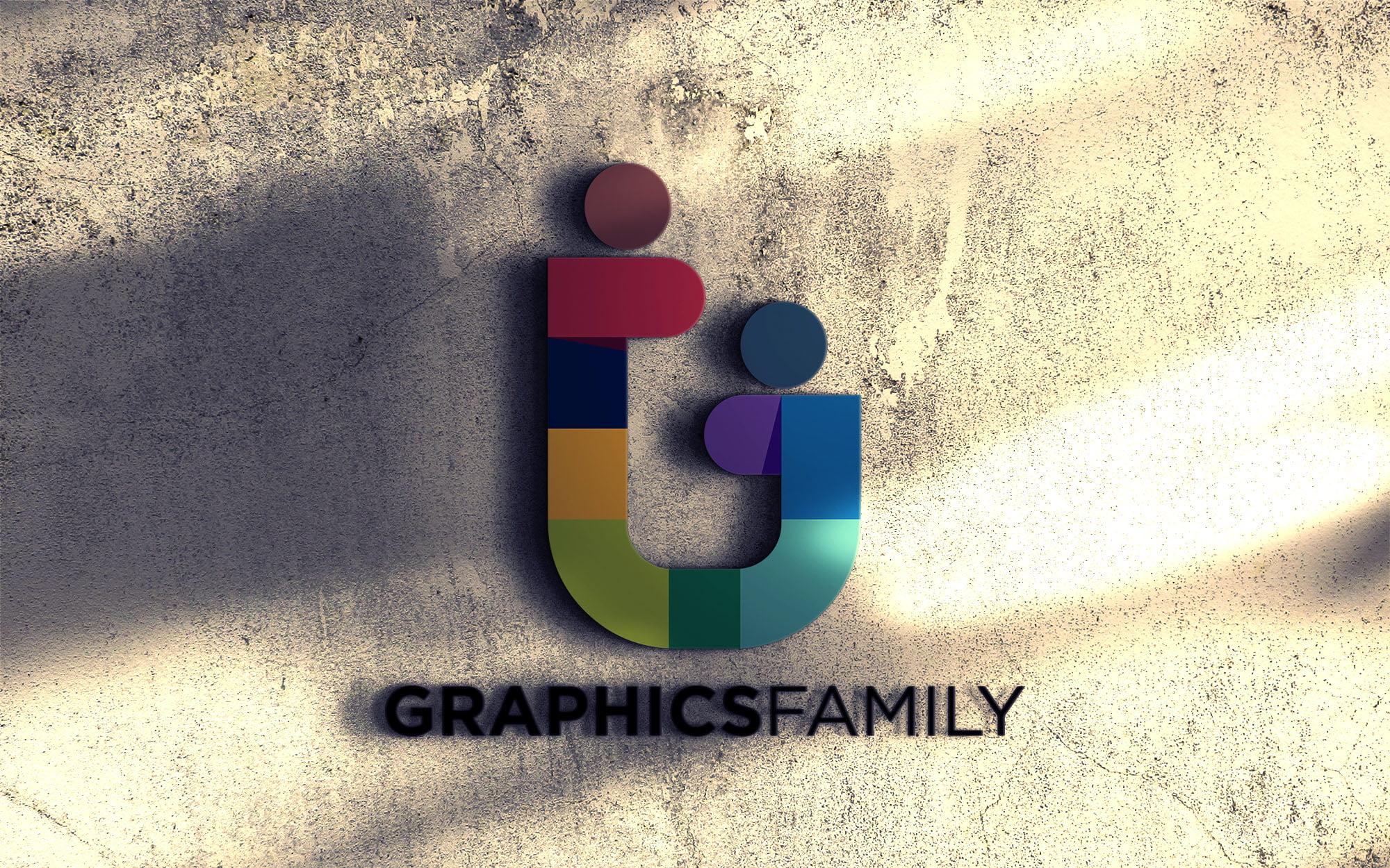 Graphicsfamily Realistic 3d wall logo mockup