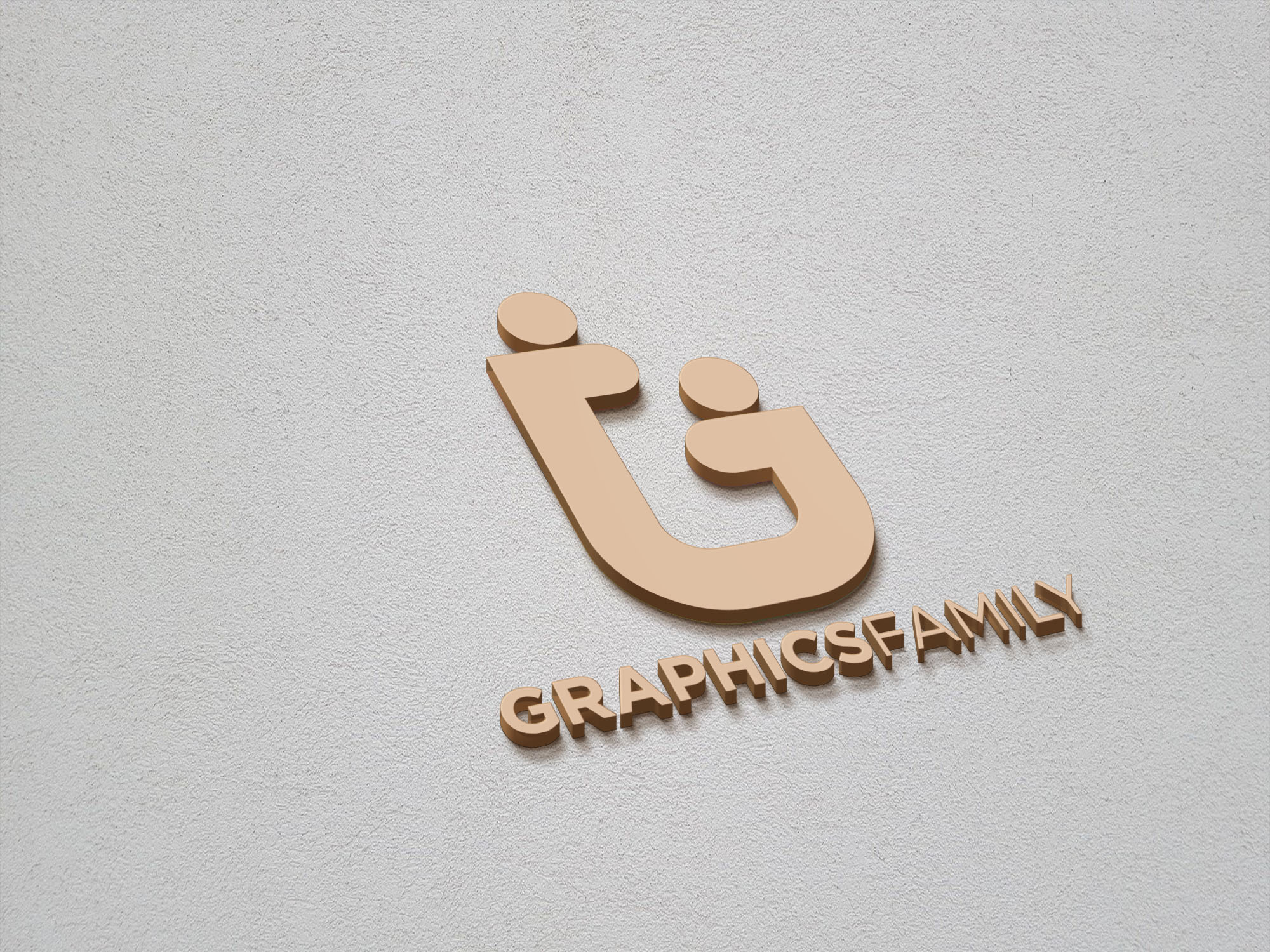 Graphicsfamily logo on 3d gold mockup