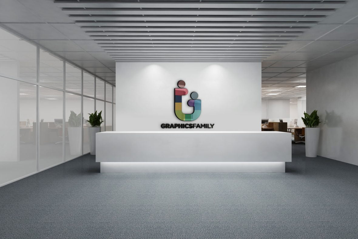 Graphicsfamily-logo-on-3d-office-wall-scaled