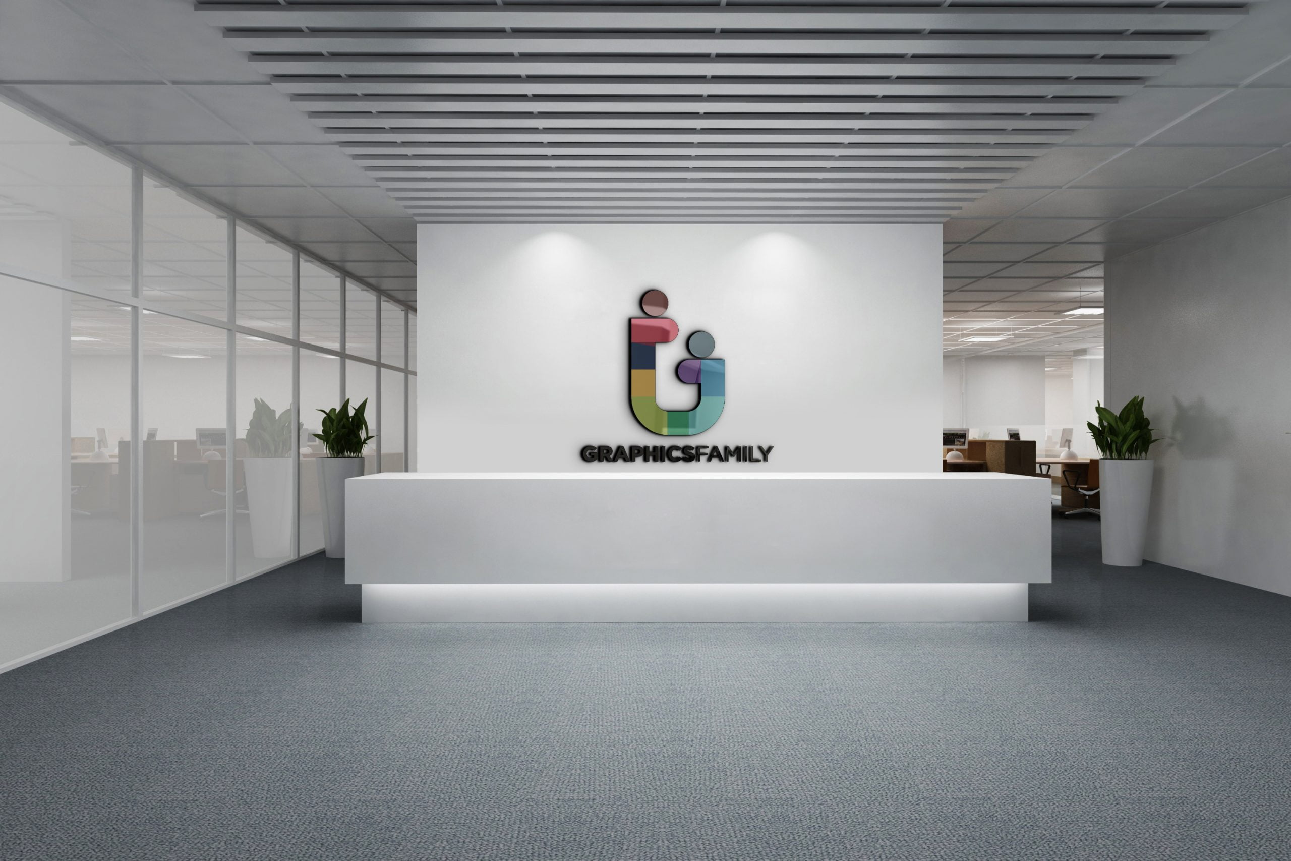 Graphicsfamily logo on 3d office wall