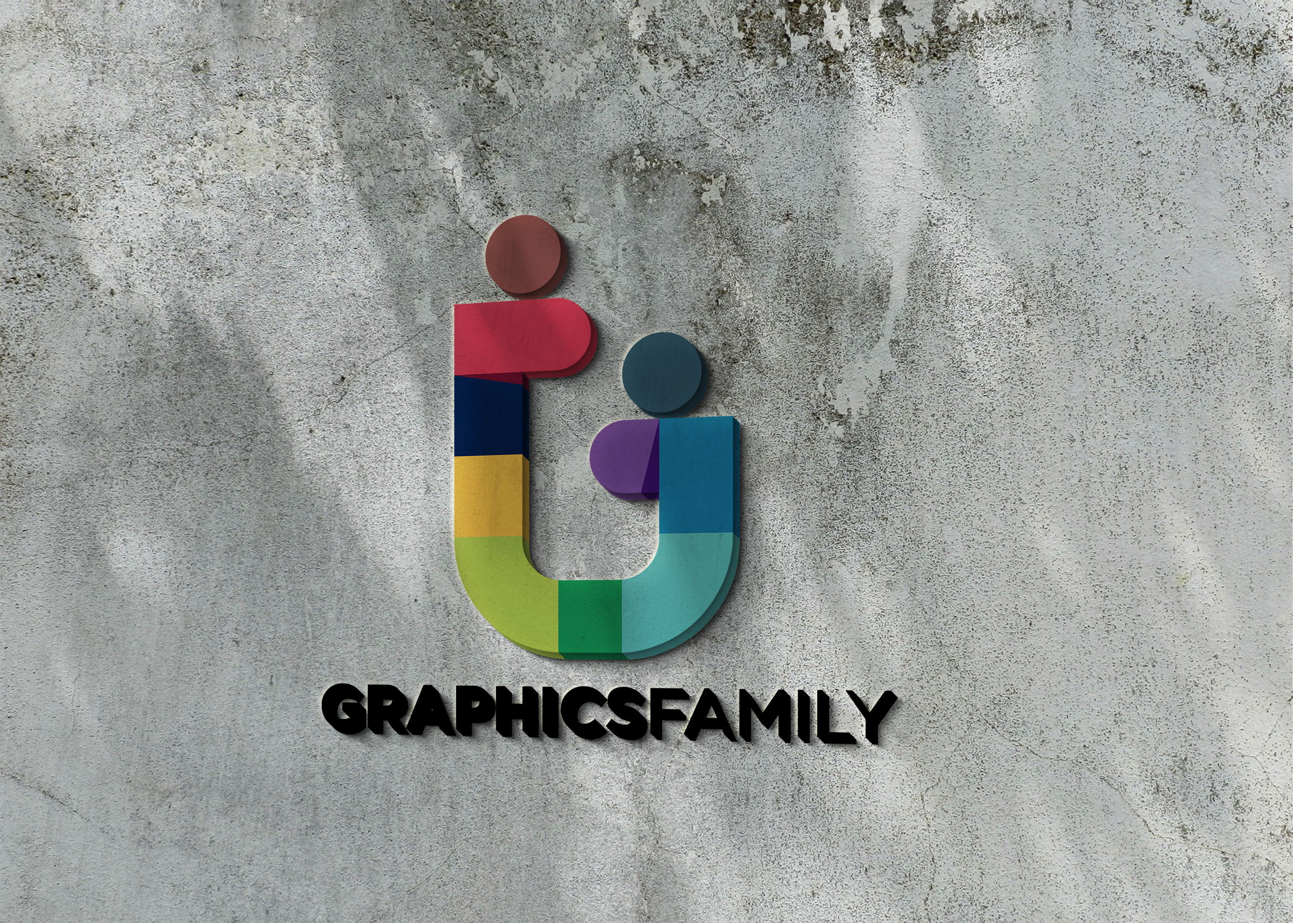 Graphicsfamily logo on 3d wall