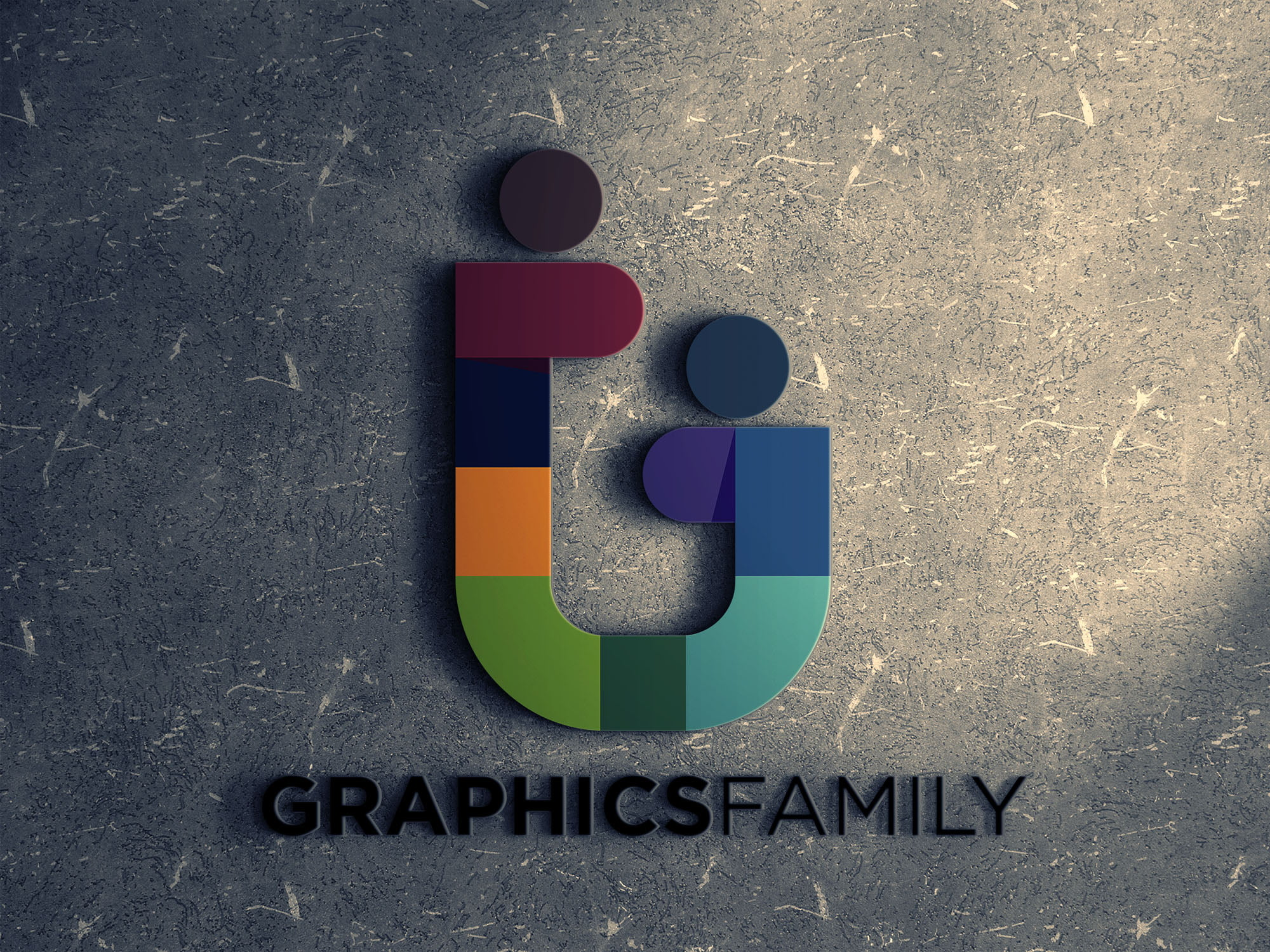 Graphicsfamily logo on ceramic wall