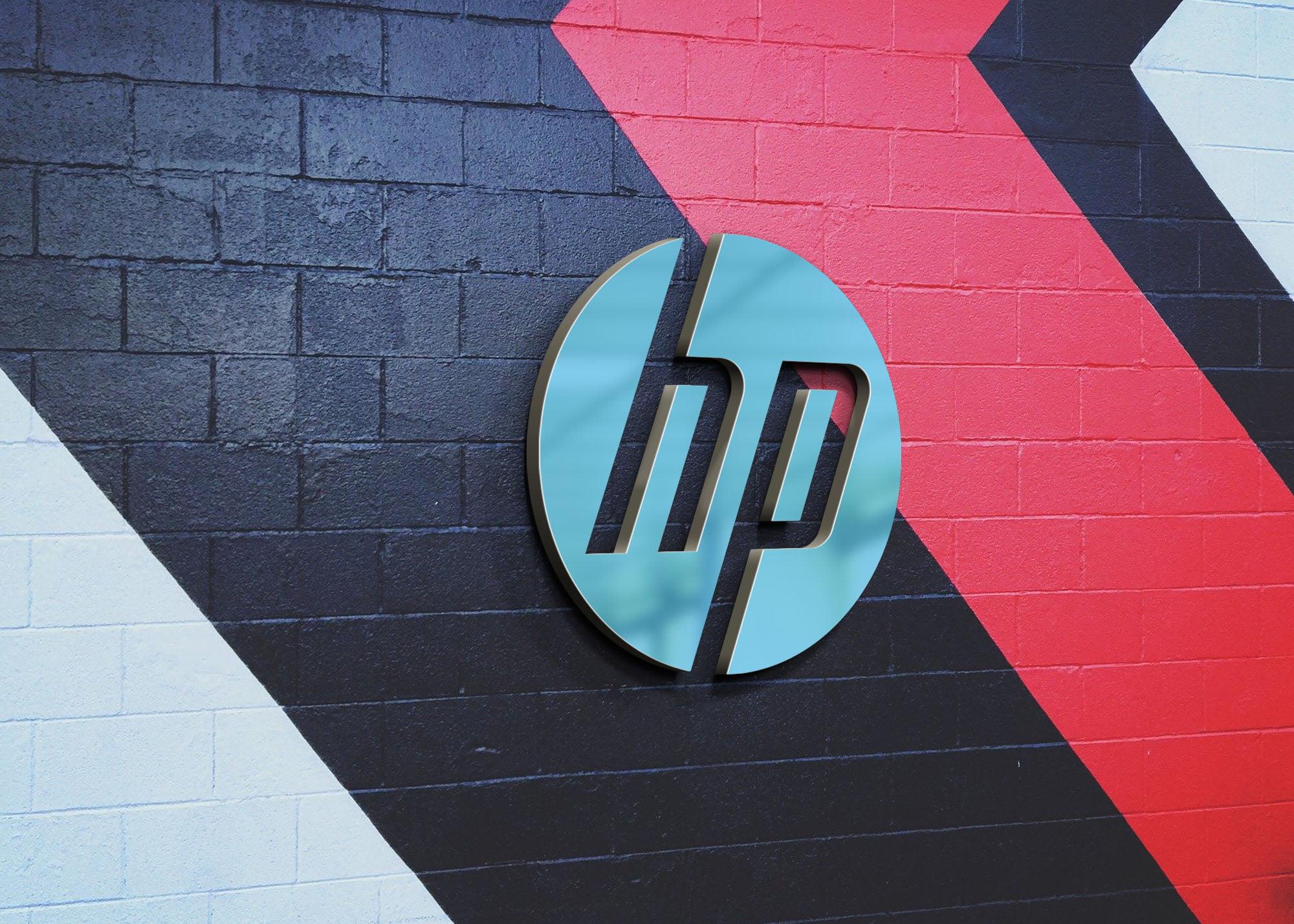 HP 3d metal on wall mockup