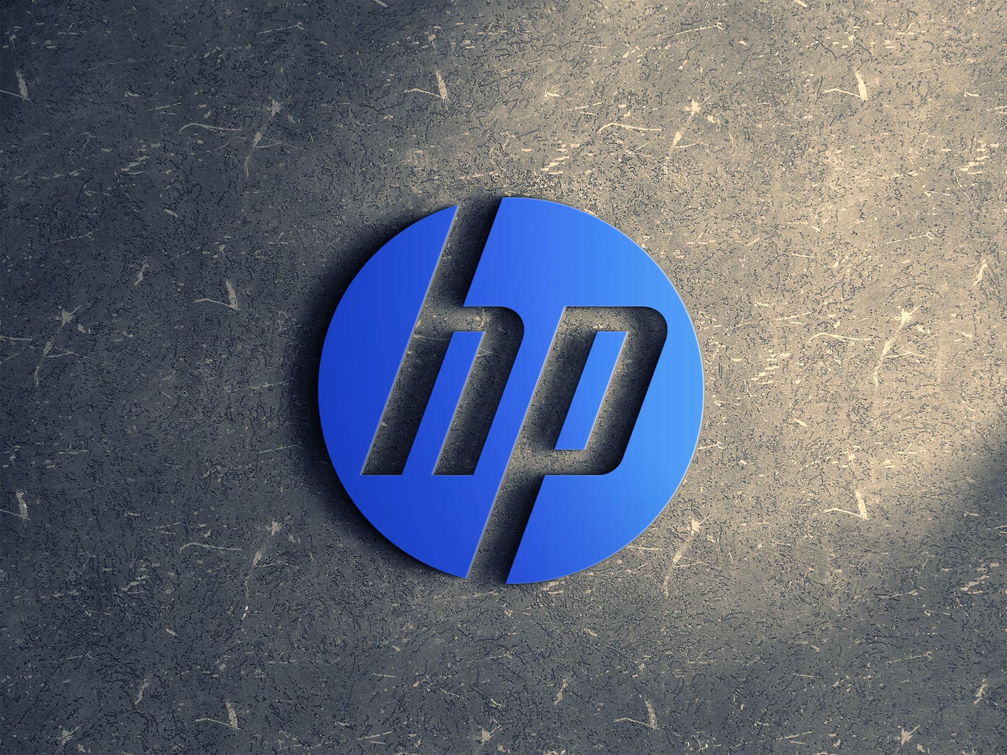 HP logo 3d mockup