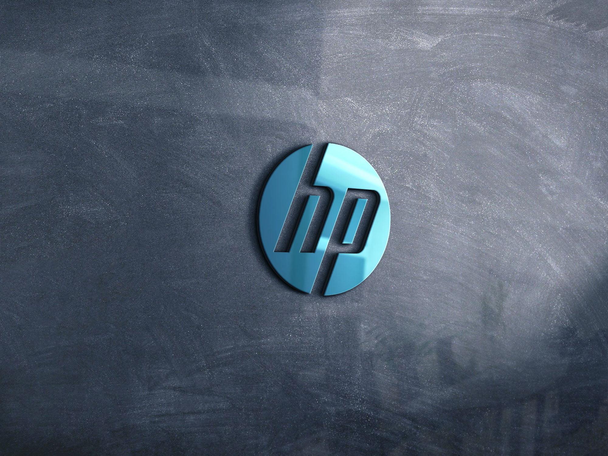 HP logo on 3d glass window