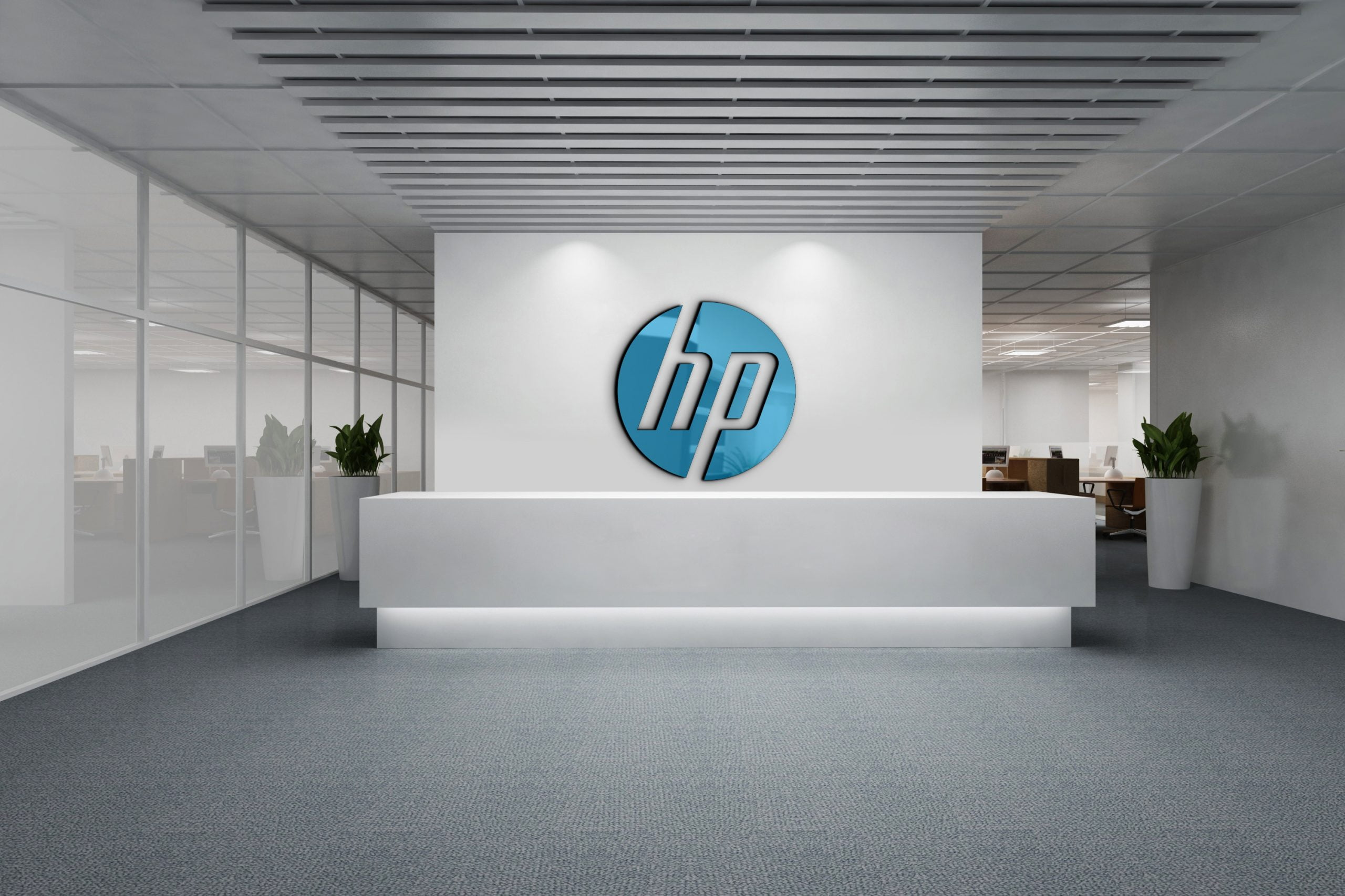 HP logo on 3d white wall