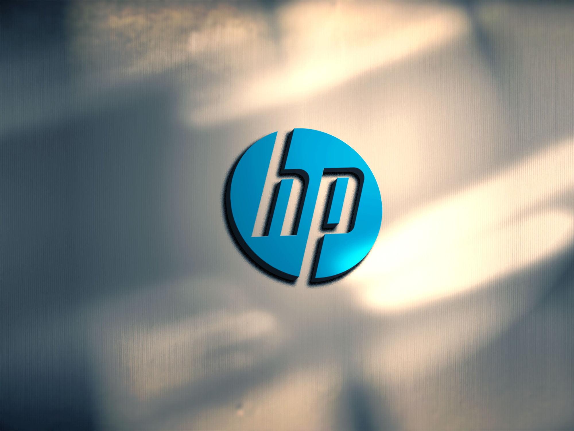 HP logo on metal mockkup