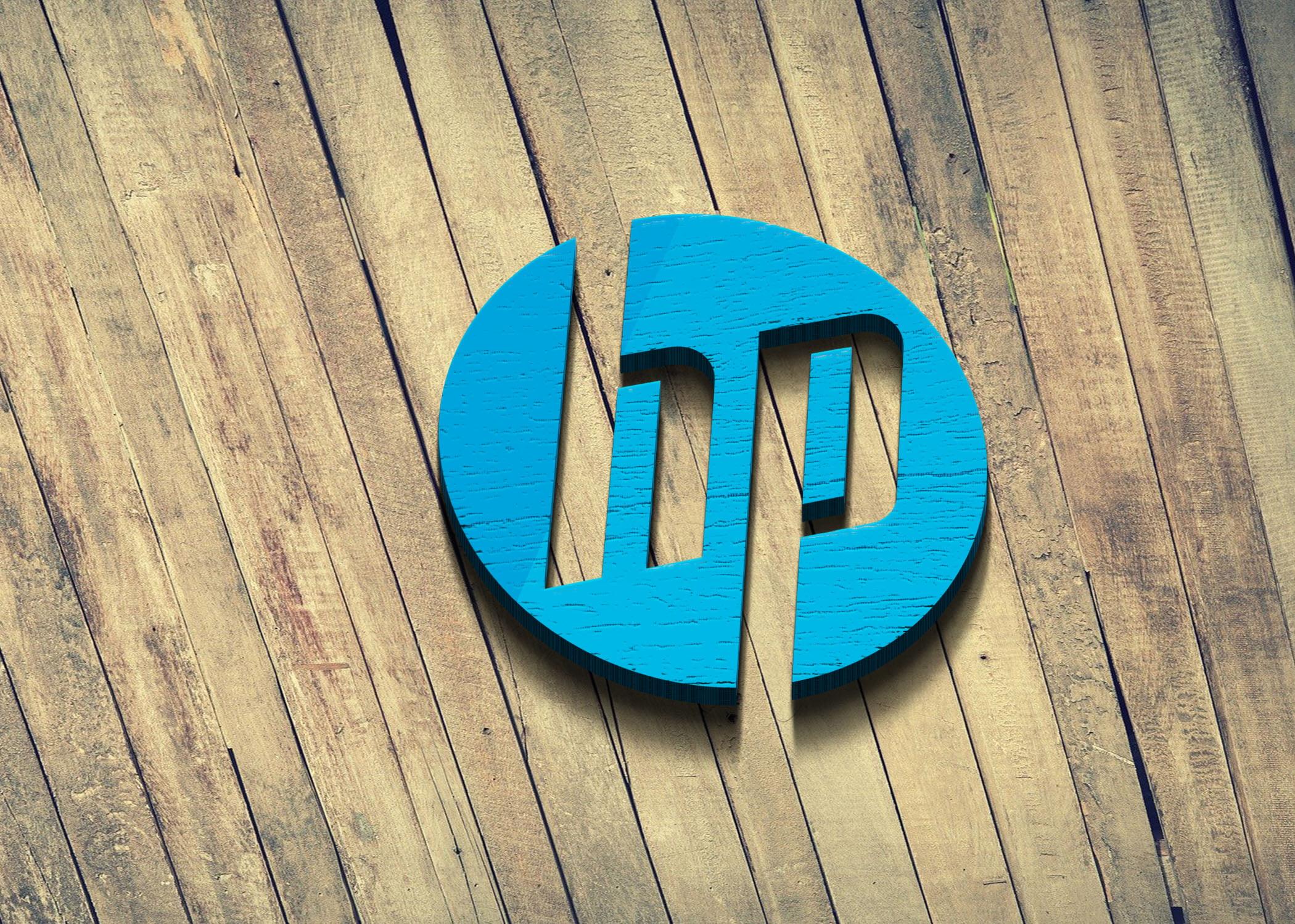HP logo on wood mockup