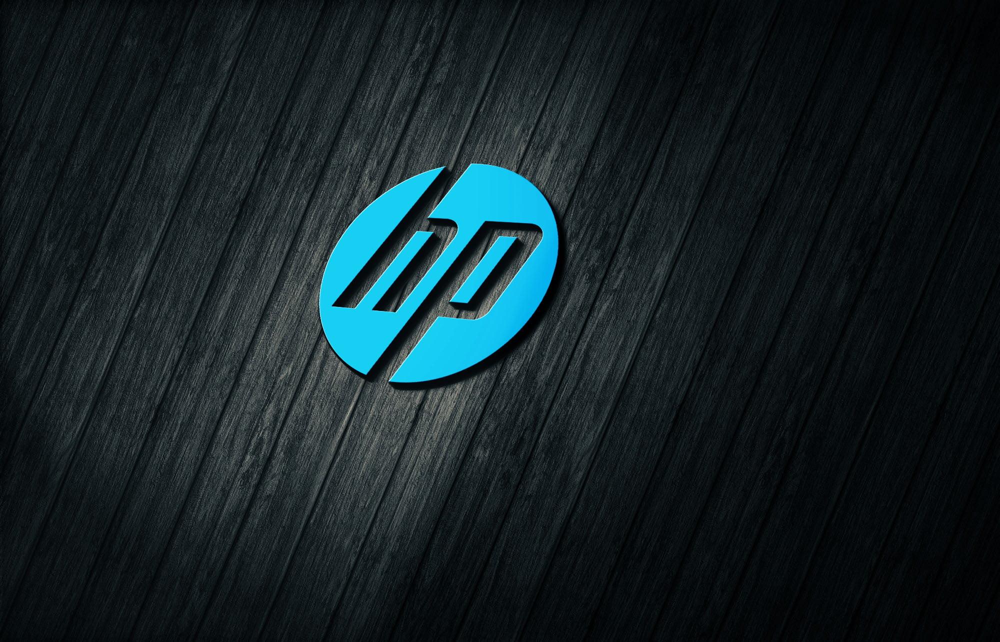 HP on 3d dark wood mockup