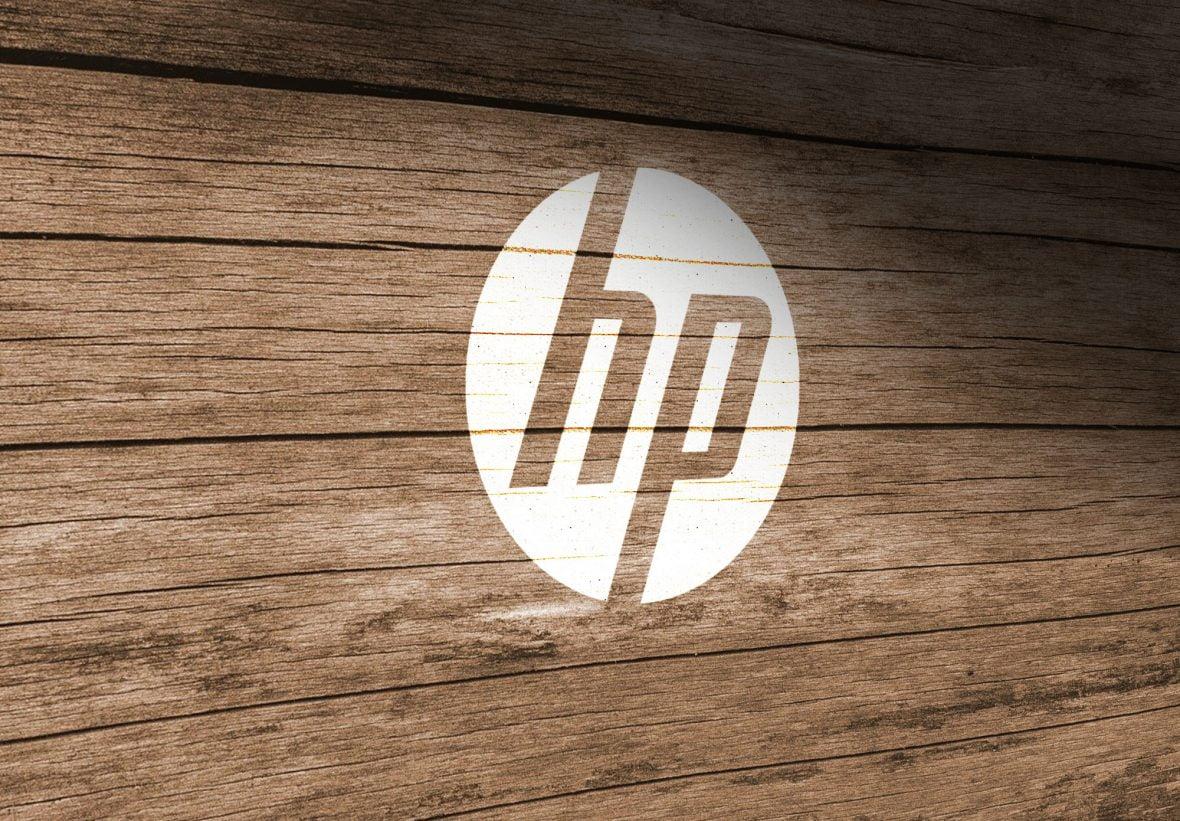HP Free Wood Wall Logo PSD Mockup
