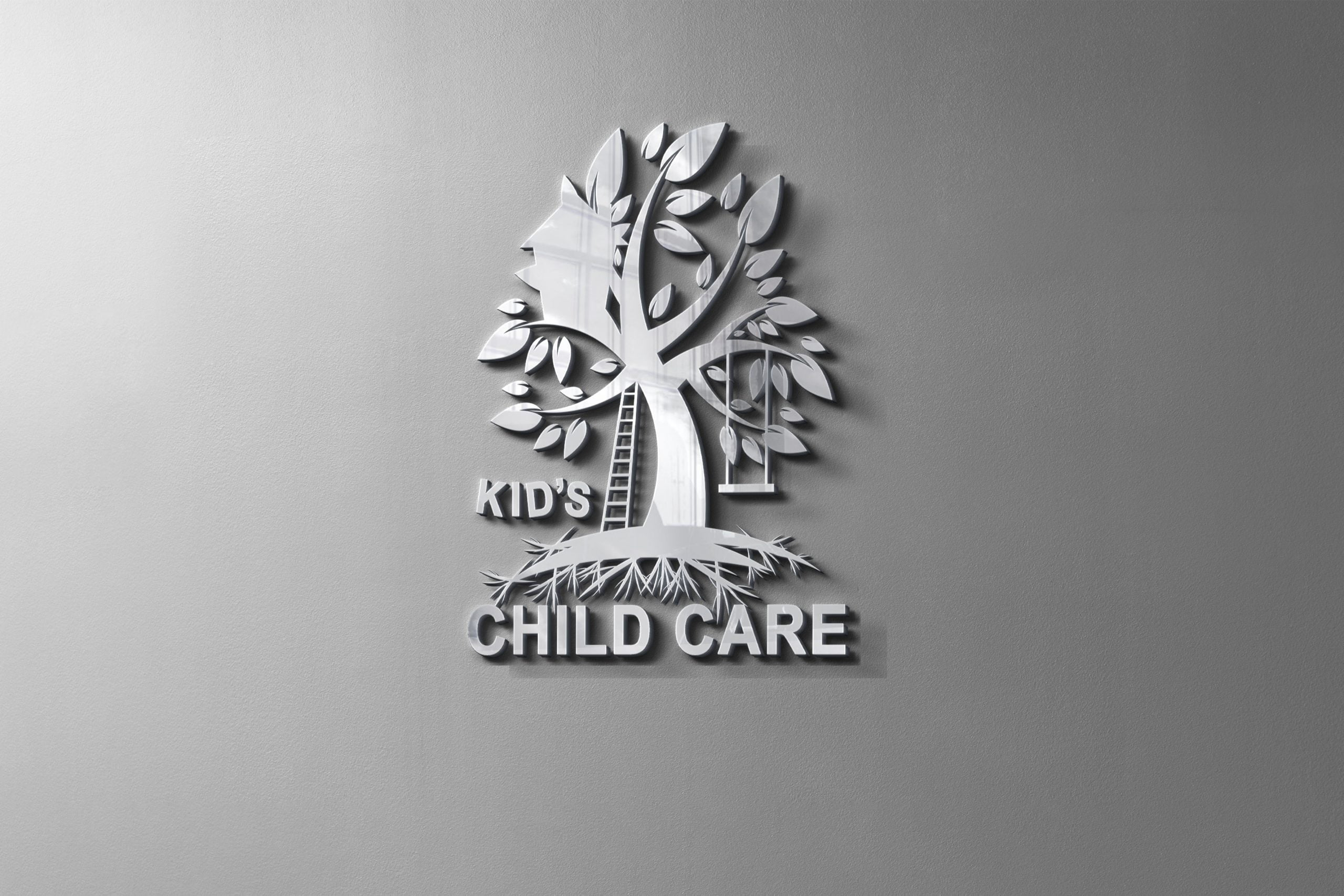 Logo Design for Child Care Company on metal mockup