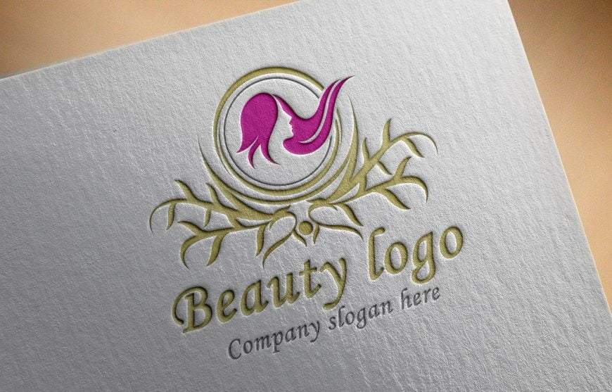 Luxury Beauty Logo Design On Paper mockup